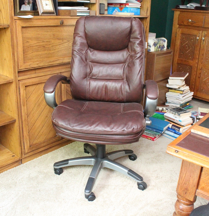 Lane office chairs - Dark Brown Leather Office Chair By Lane