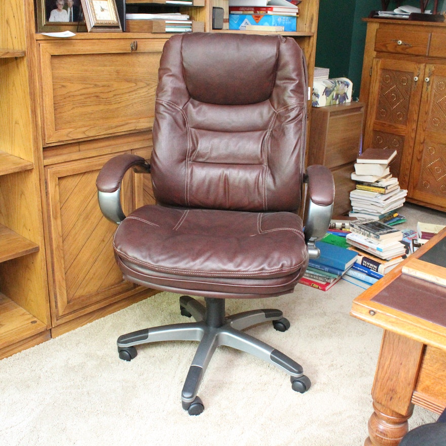 Dark Brown Leather Office Chair By Lane