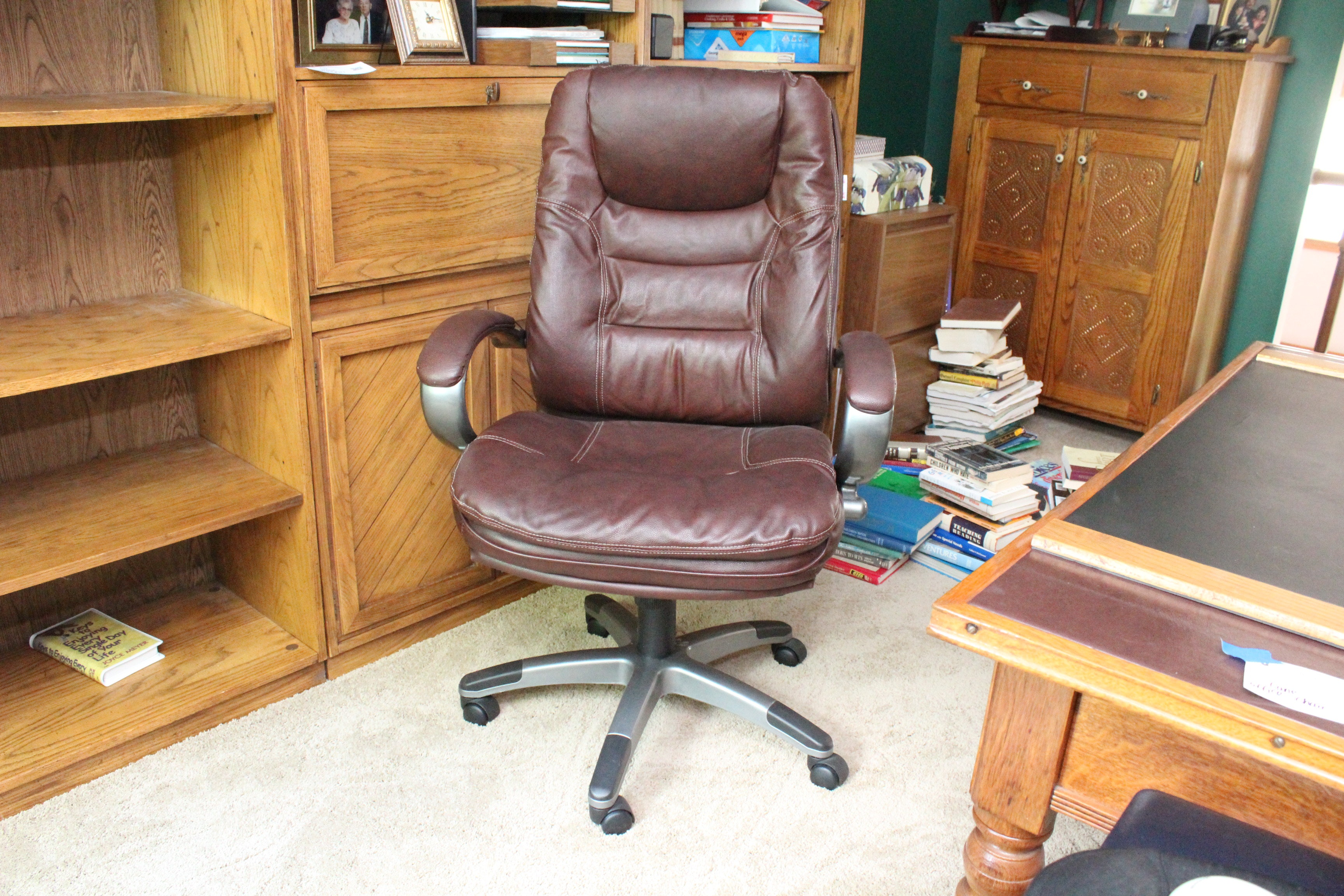 Dark Brown Leather Office Chair By Lane ...