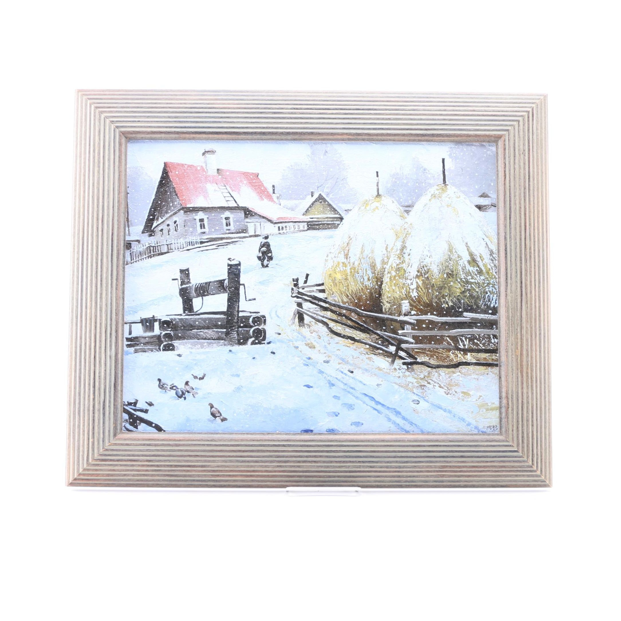 Oil Painting on Canvas of a Russian Winter Scene