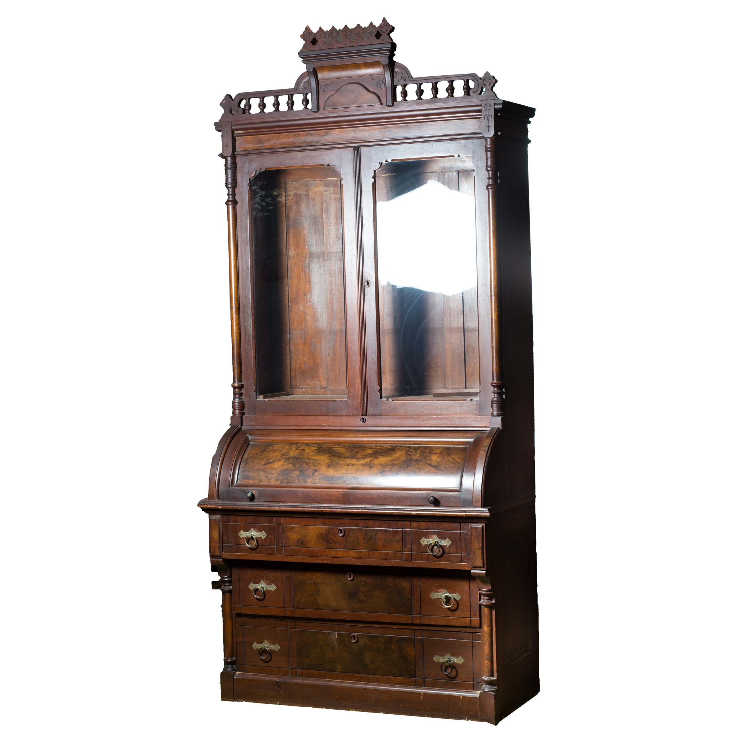 Late 19th Century Victorian Eastlake Secretary with Cylinder Roll