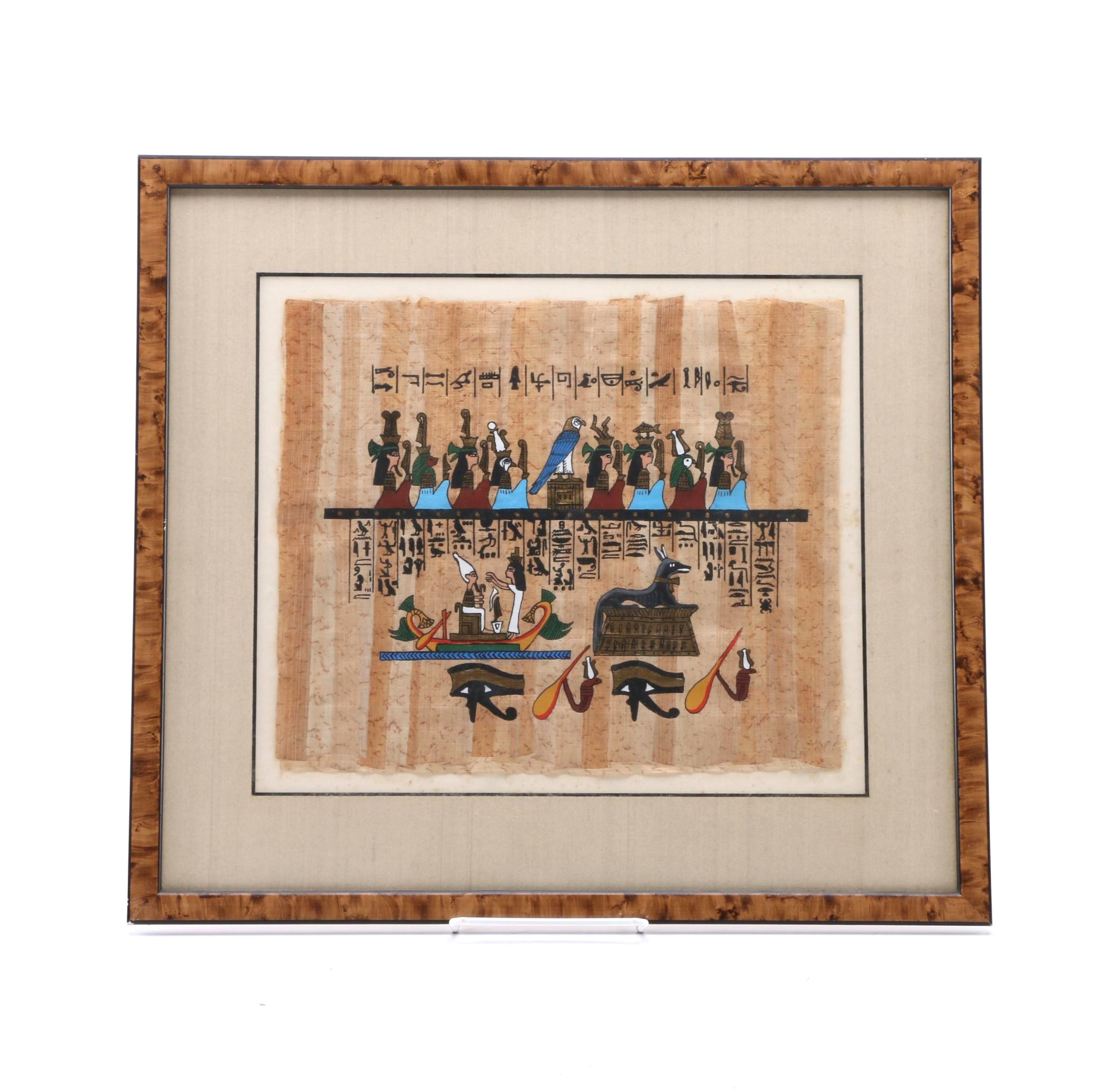 Gouache Painting on Papyrus After Ancient Egyptian Wall Paintings