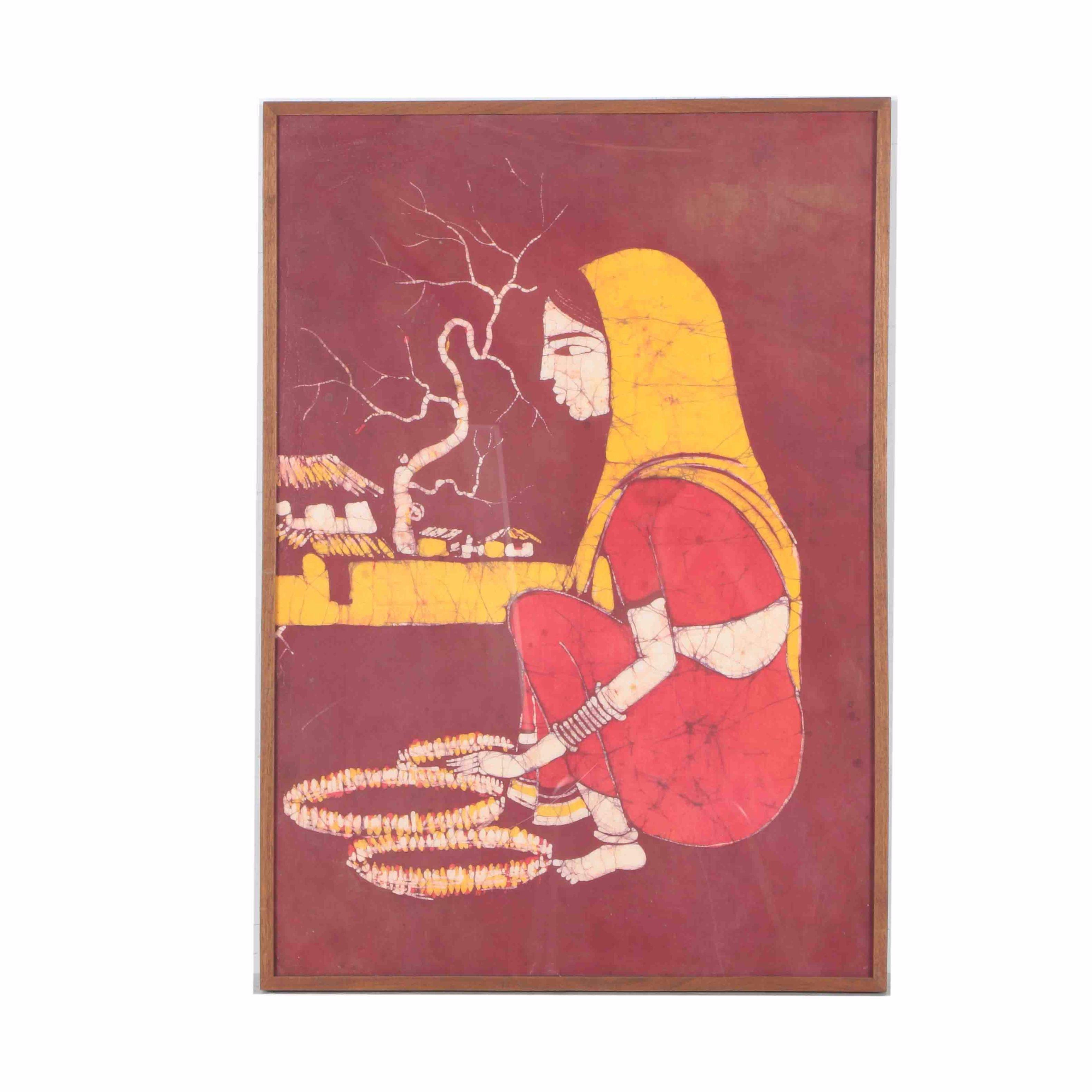 Framed Indian Batik of a Woman