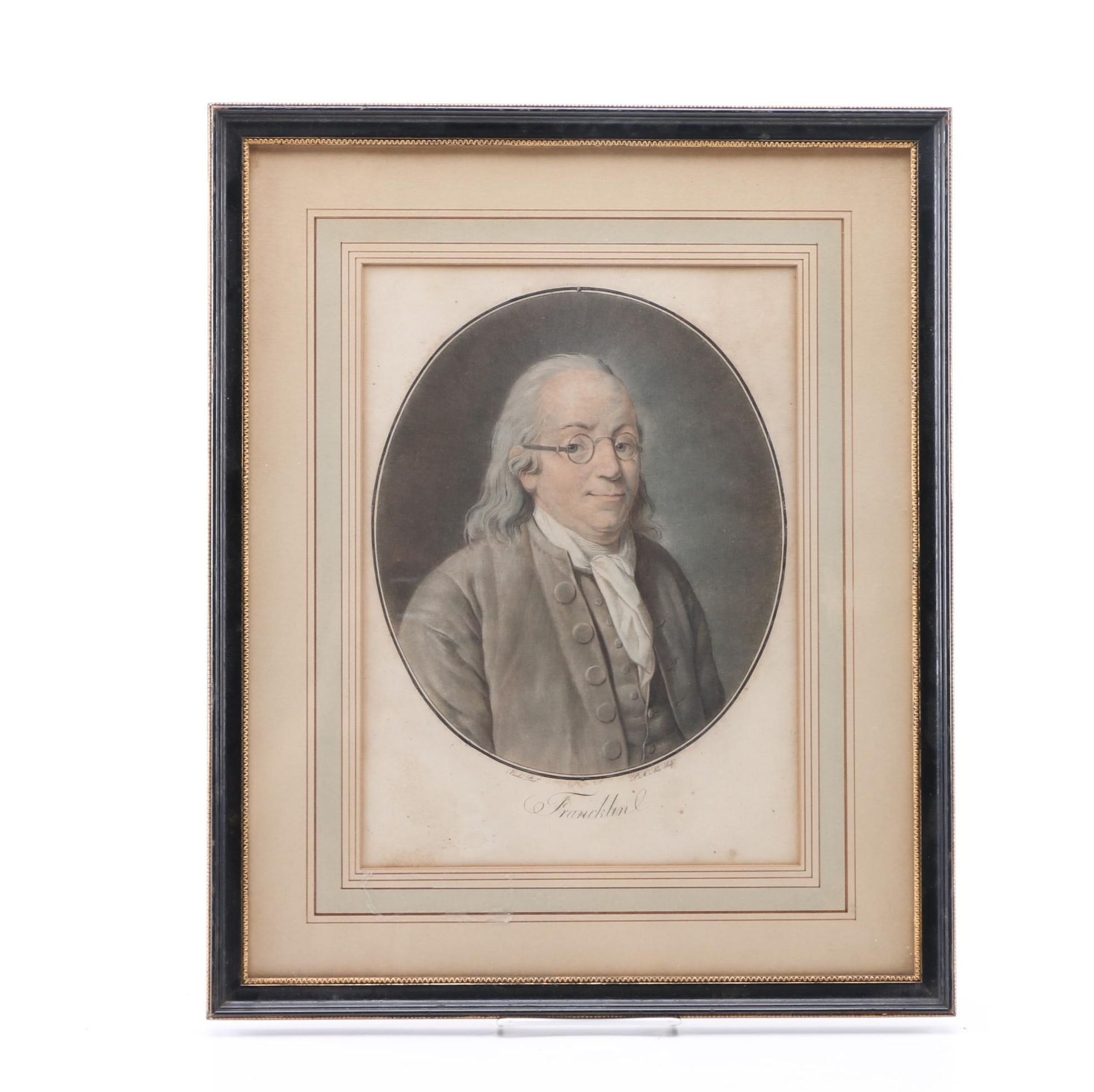 Color Lithograph After Pierre-Michel Alix's Engraving of Benjamin Franklin
