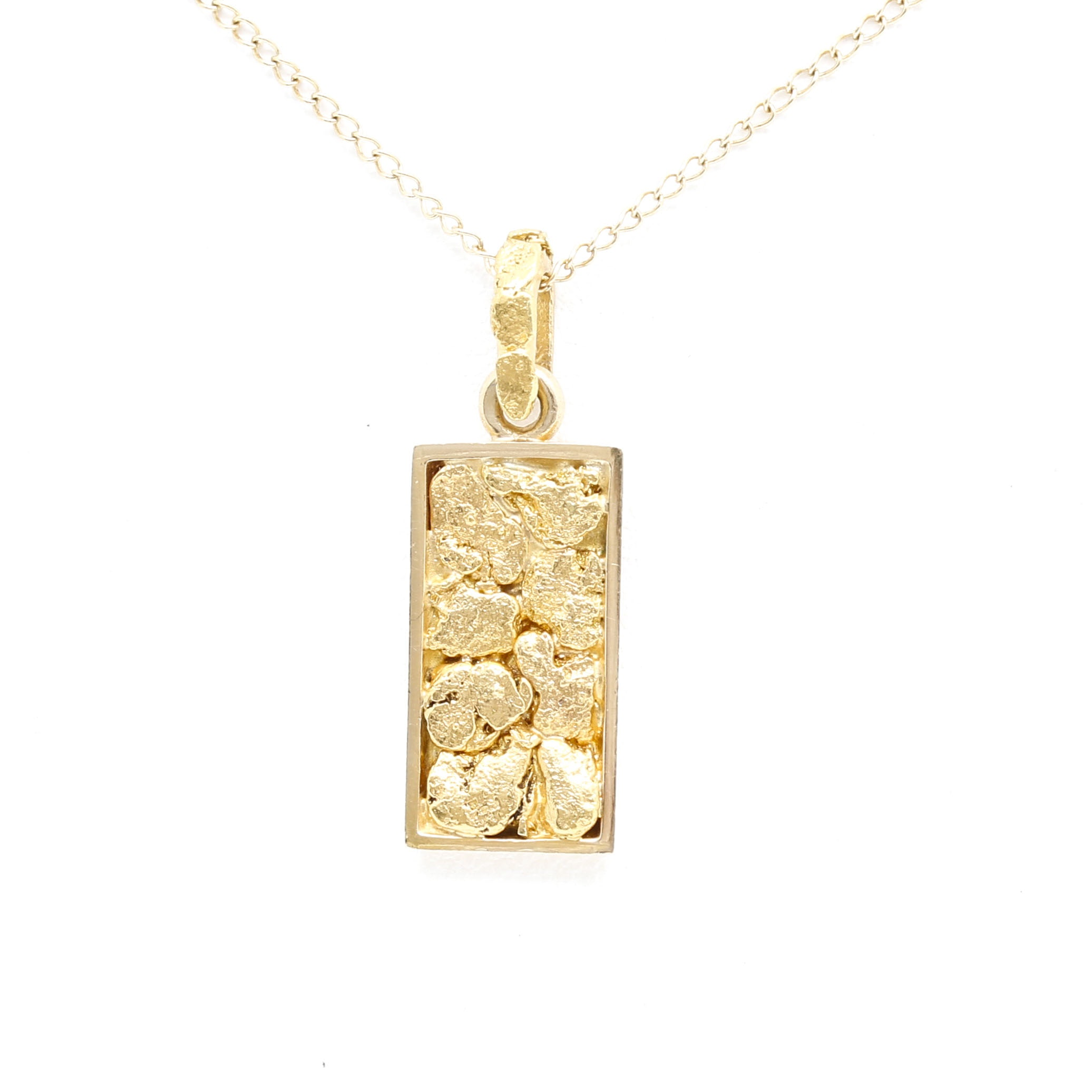 22K and 14K Yellow Gold Pressed Nugget Pendant Necklace