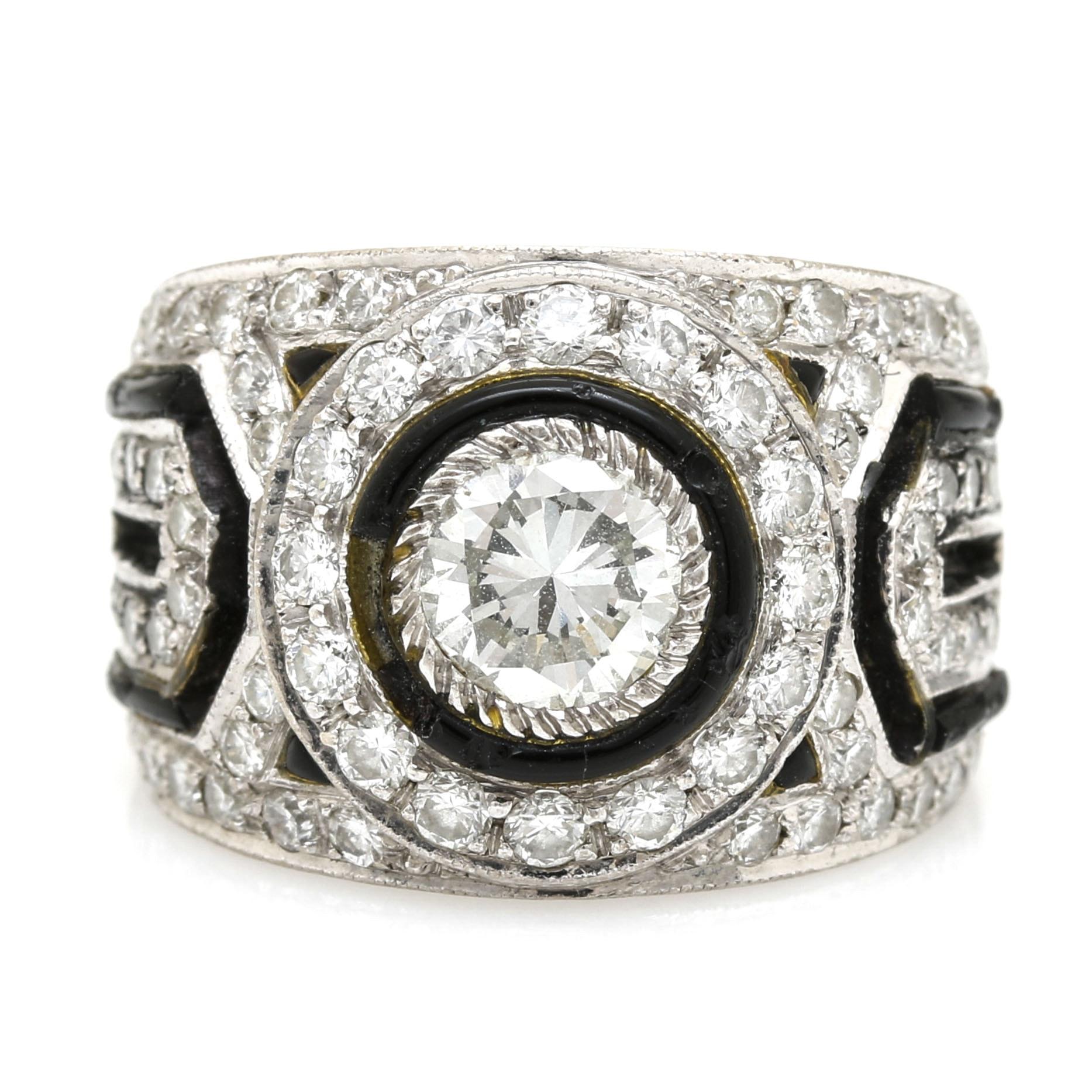 Art Deco-Style 18K White Gold 1.50 CTW Diamond Ring
