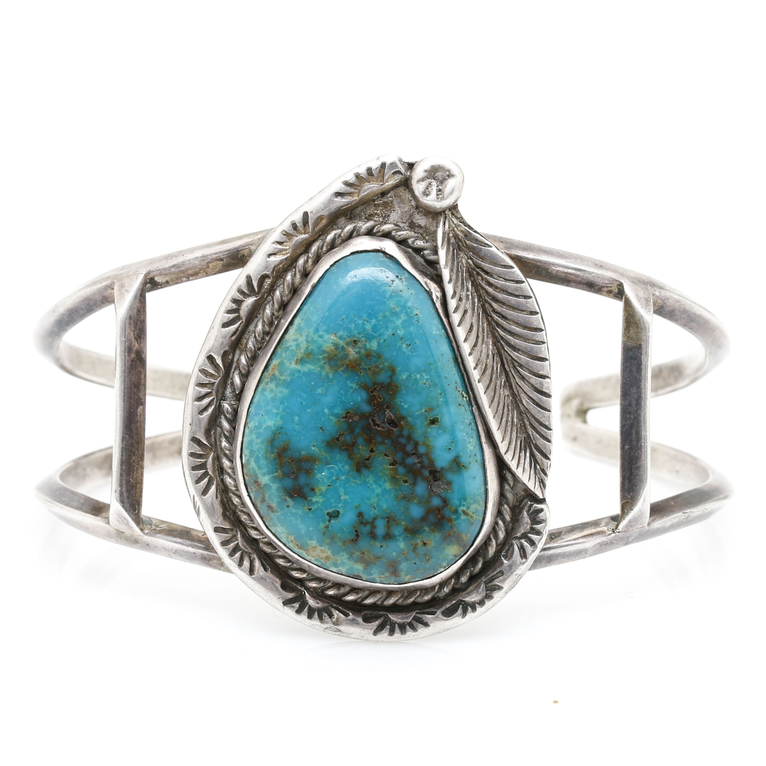 Harry R. Yazzie Navajo Sterling Silver Turquoise Appliqué Cuff