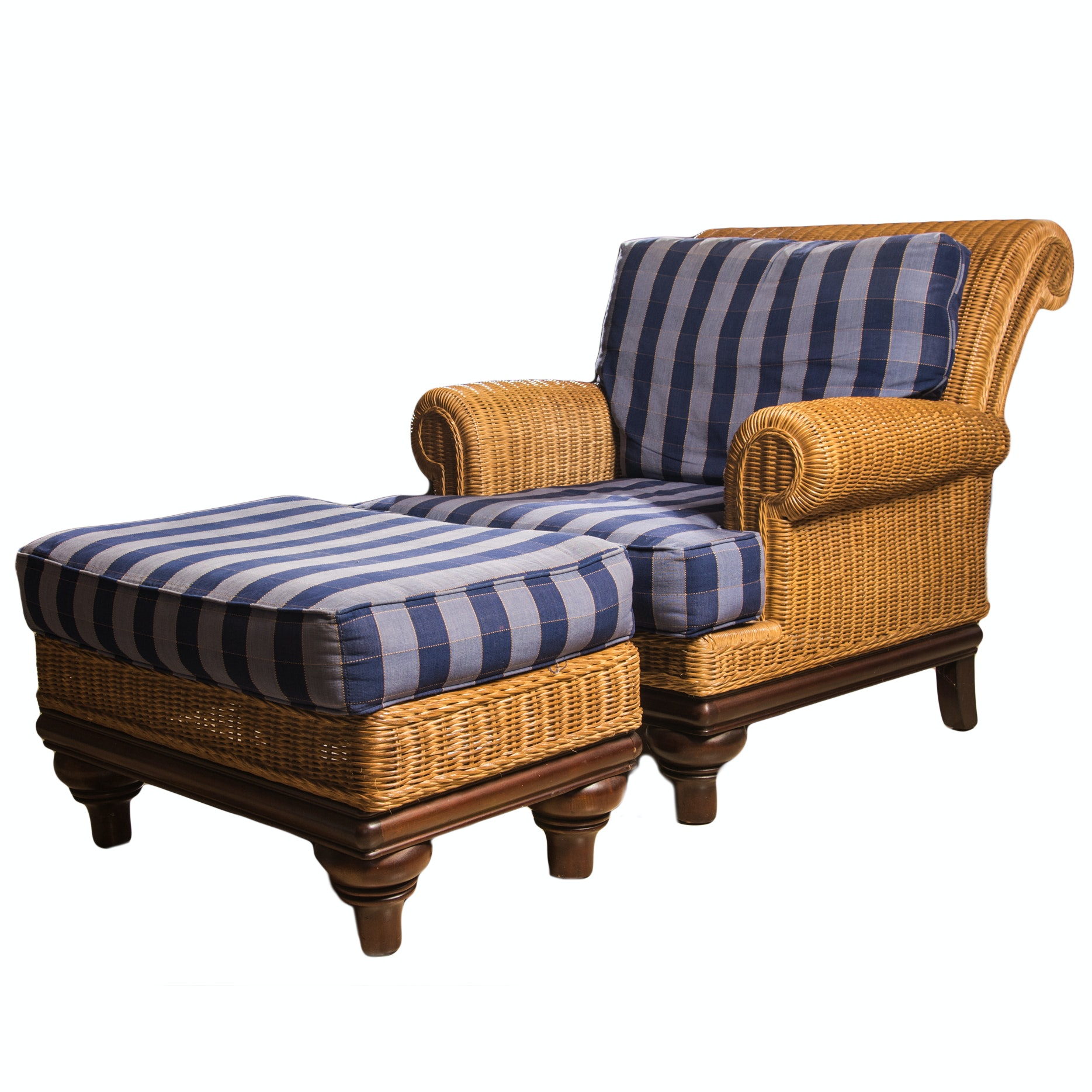 Lexington Furniture Casual Split Cane Armchair and Ottoman
