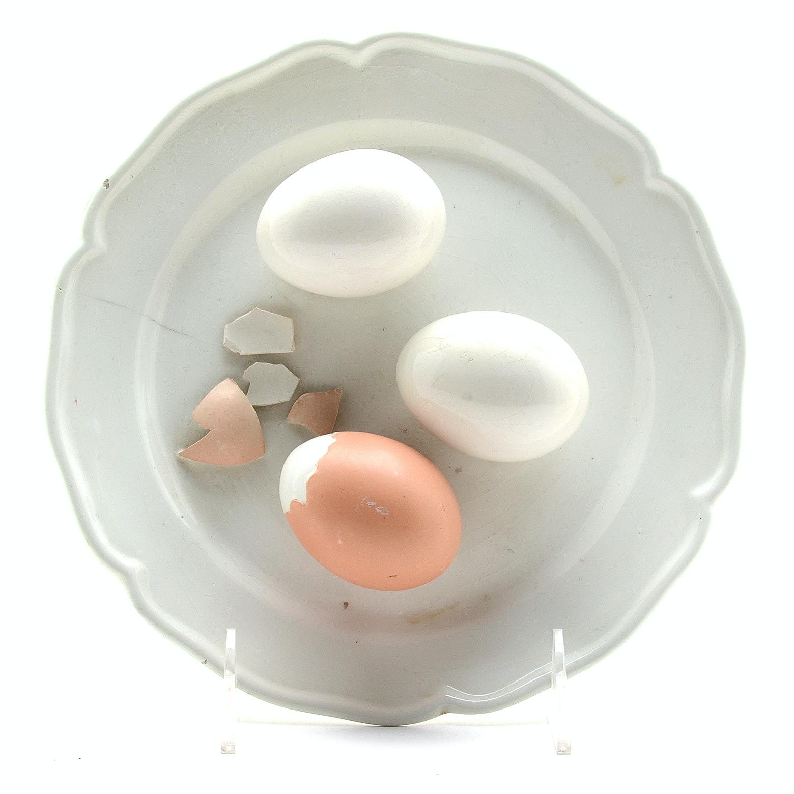 Este Ceramic Plate With Decorative Eggs