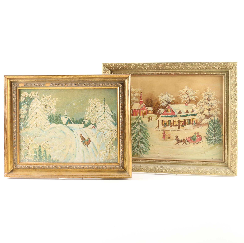 Two Original Folk Art Winter Scenes Signed H. Ludder