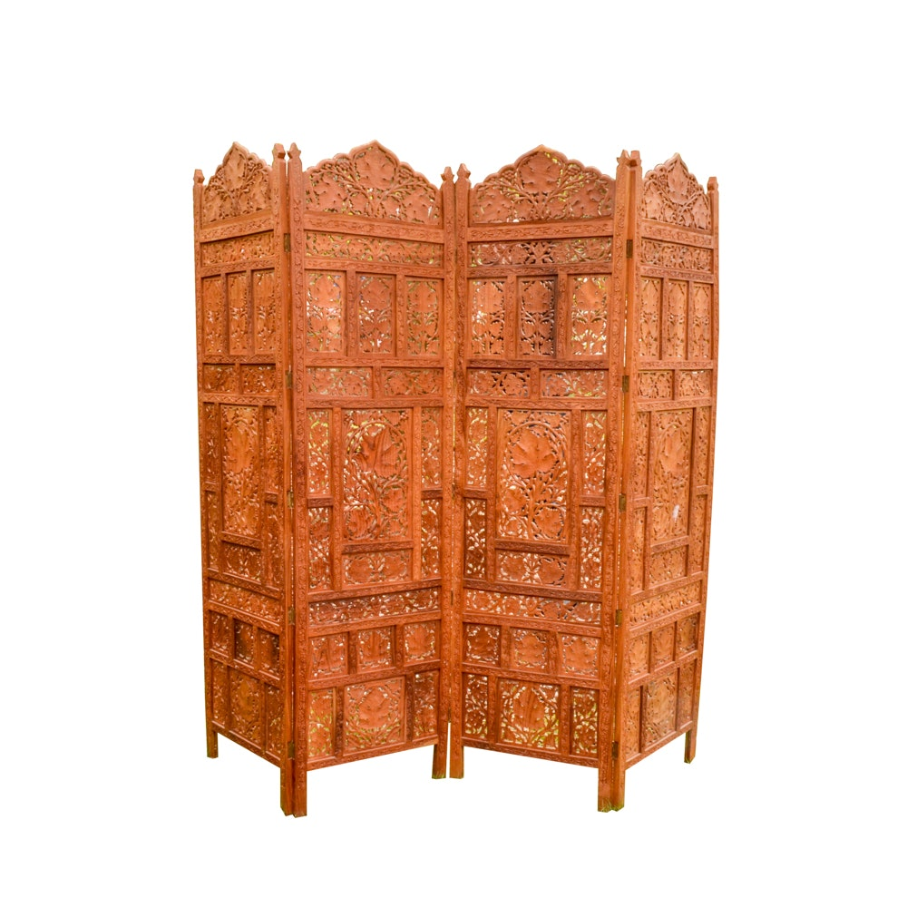 Indian Hand-Carved Wooden Screen