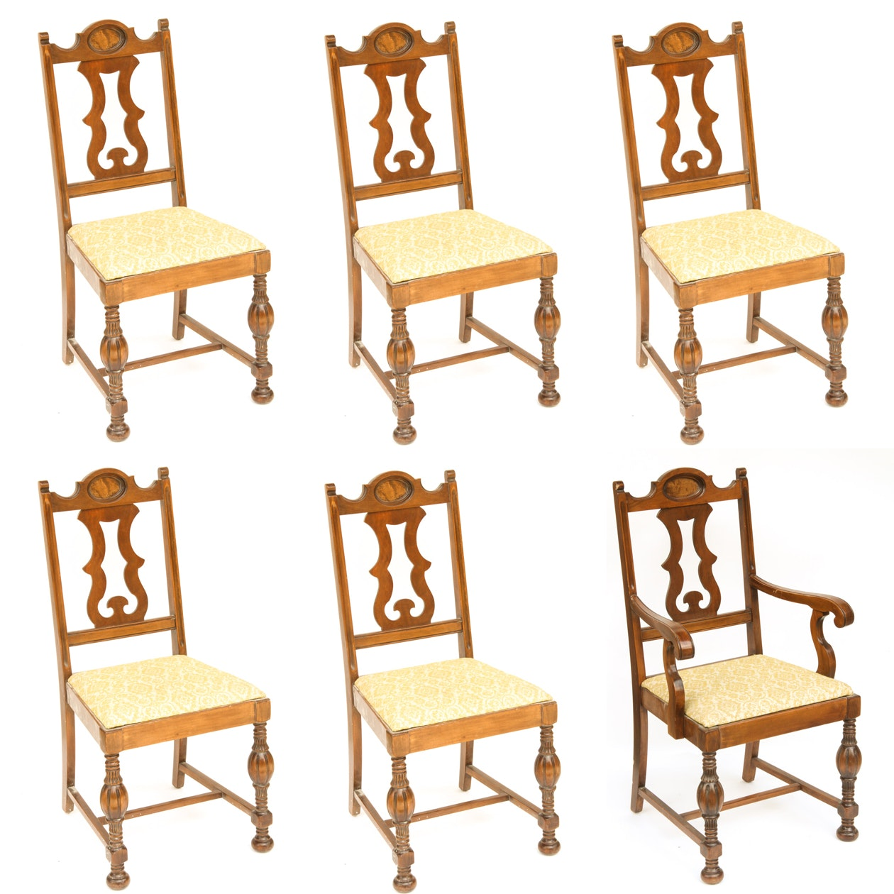 Vintage Jacobean Style Dining Chairs By Blue Bird Furniture ...