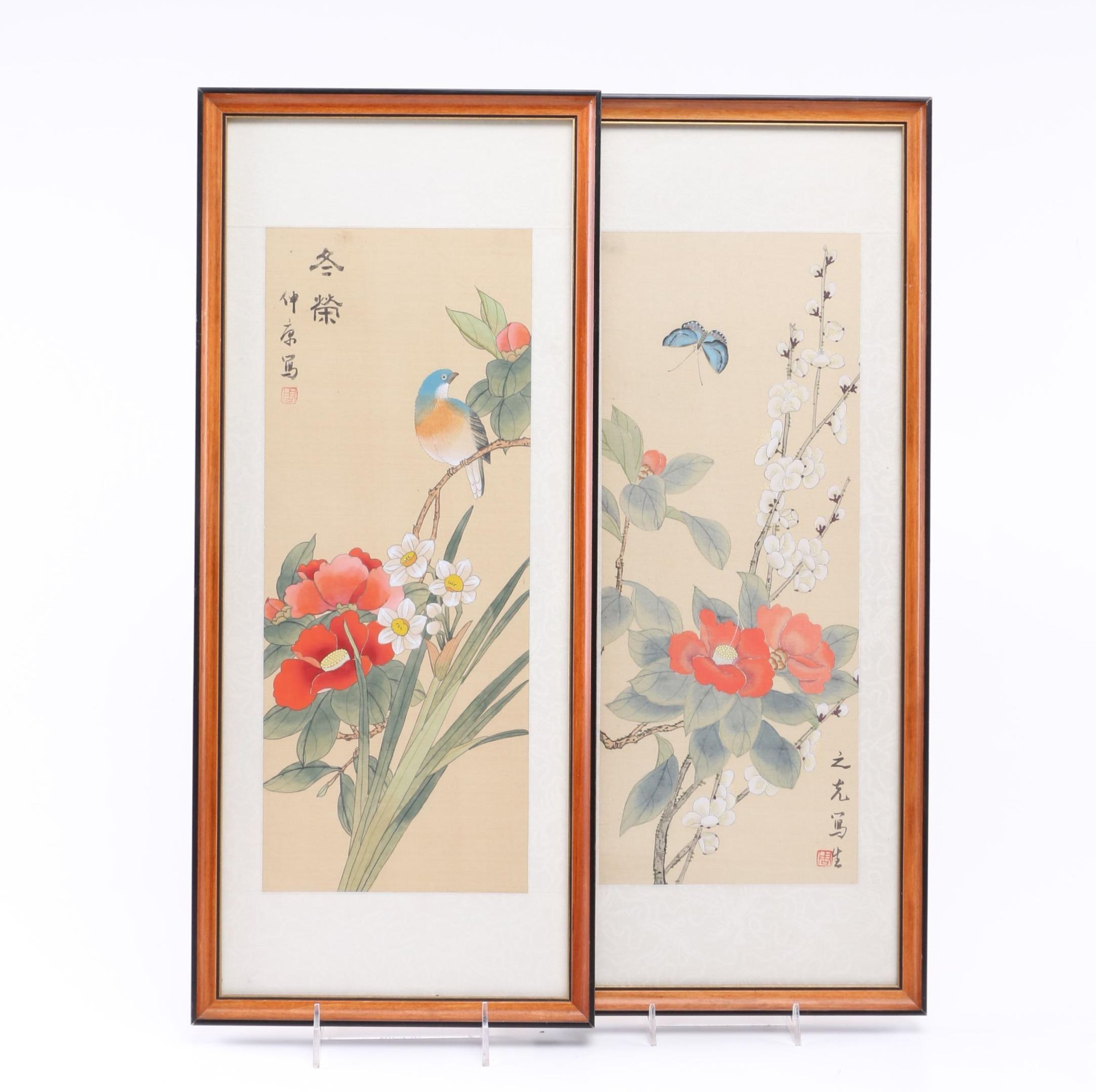Chinese Gouache On Silk Floral Scenes