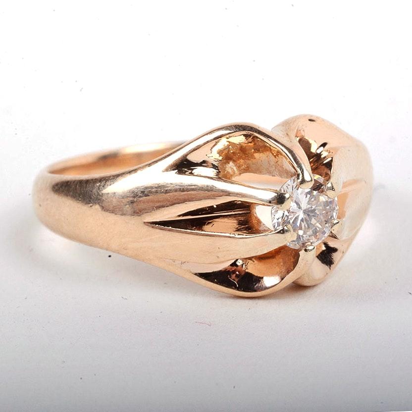 14K Yellow Gold 0.25 CT Diamond Ring