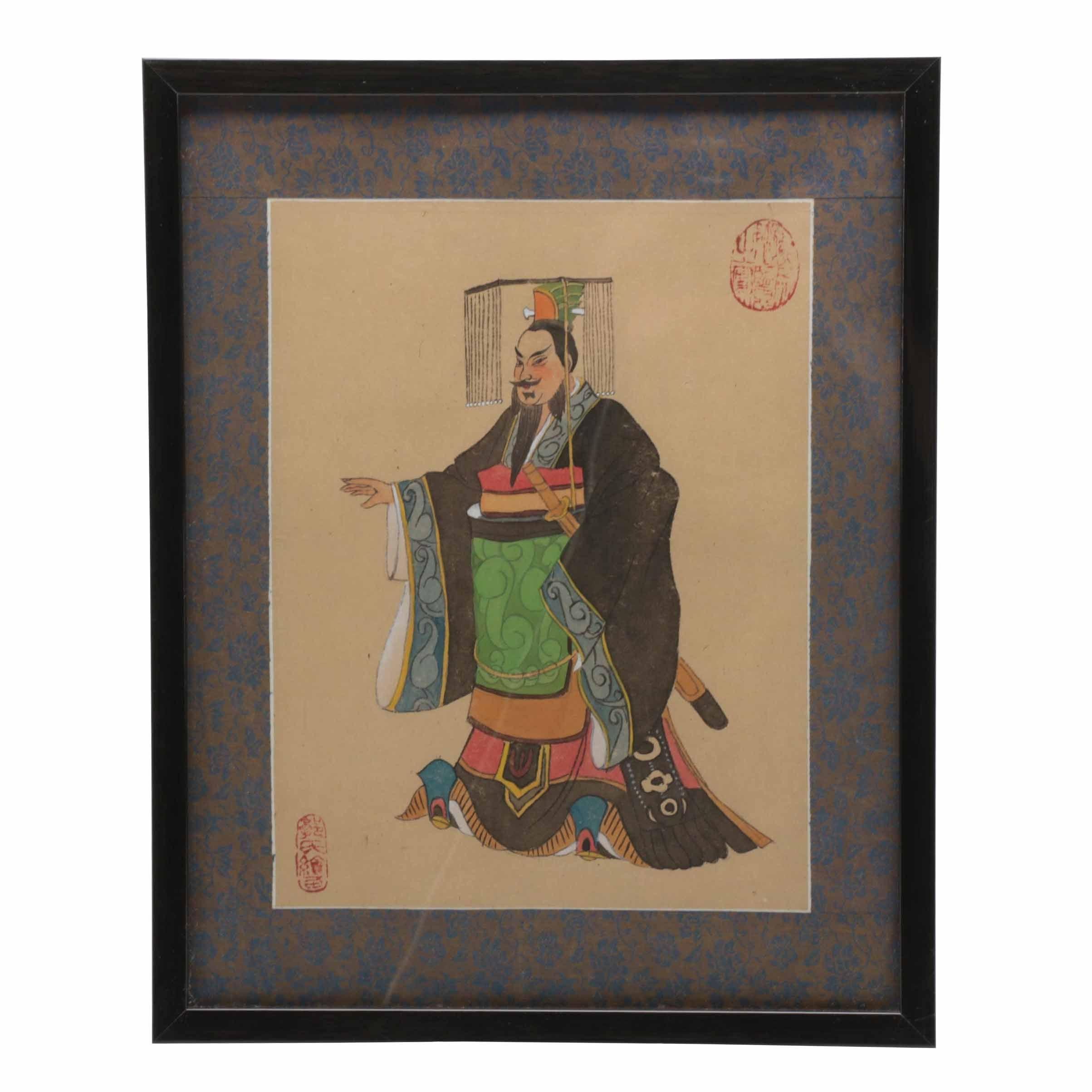 Original Gouache and Watercolor Painting of Samurai