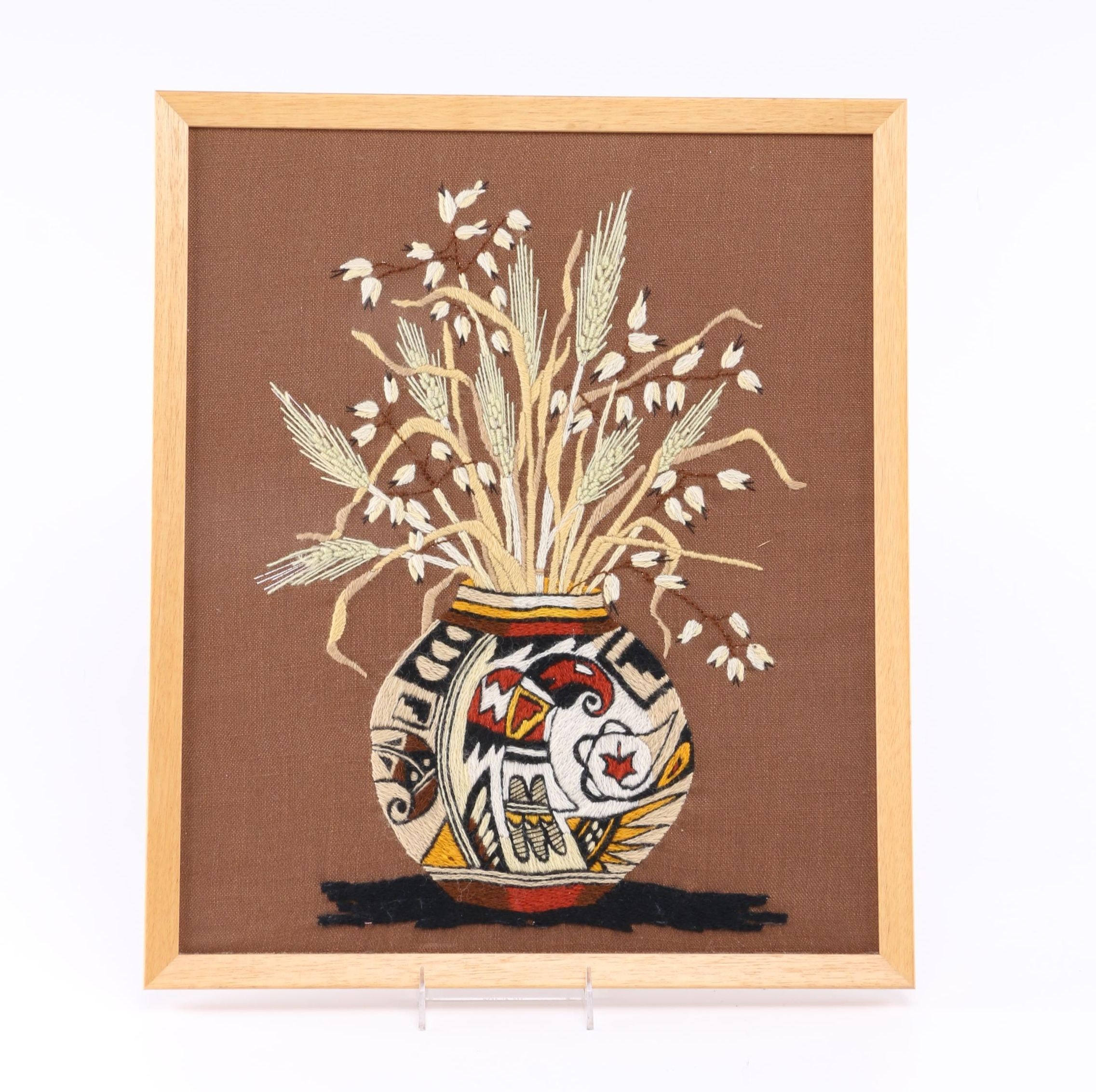 Framed Native American Style Stitched Textile