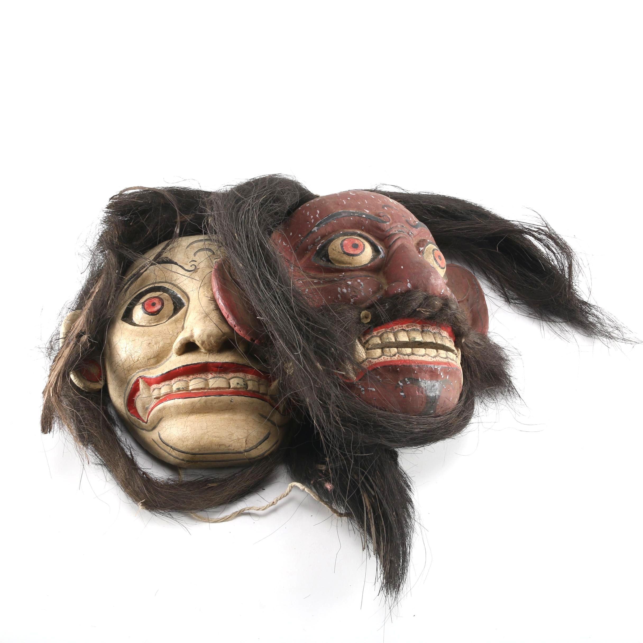 Balinese Wooden Guardian Masks