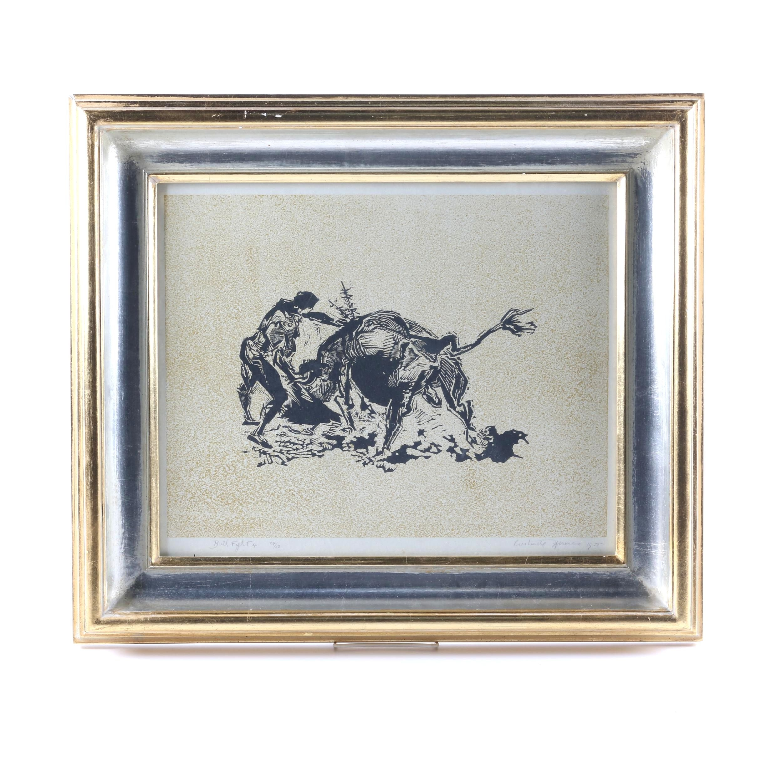 "Gertrude Hermes Limited Edition Linocut ""Bull Fight 4"""