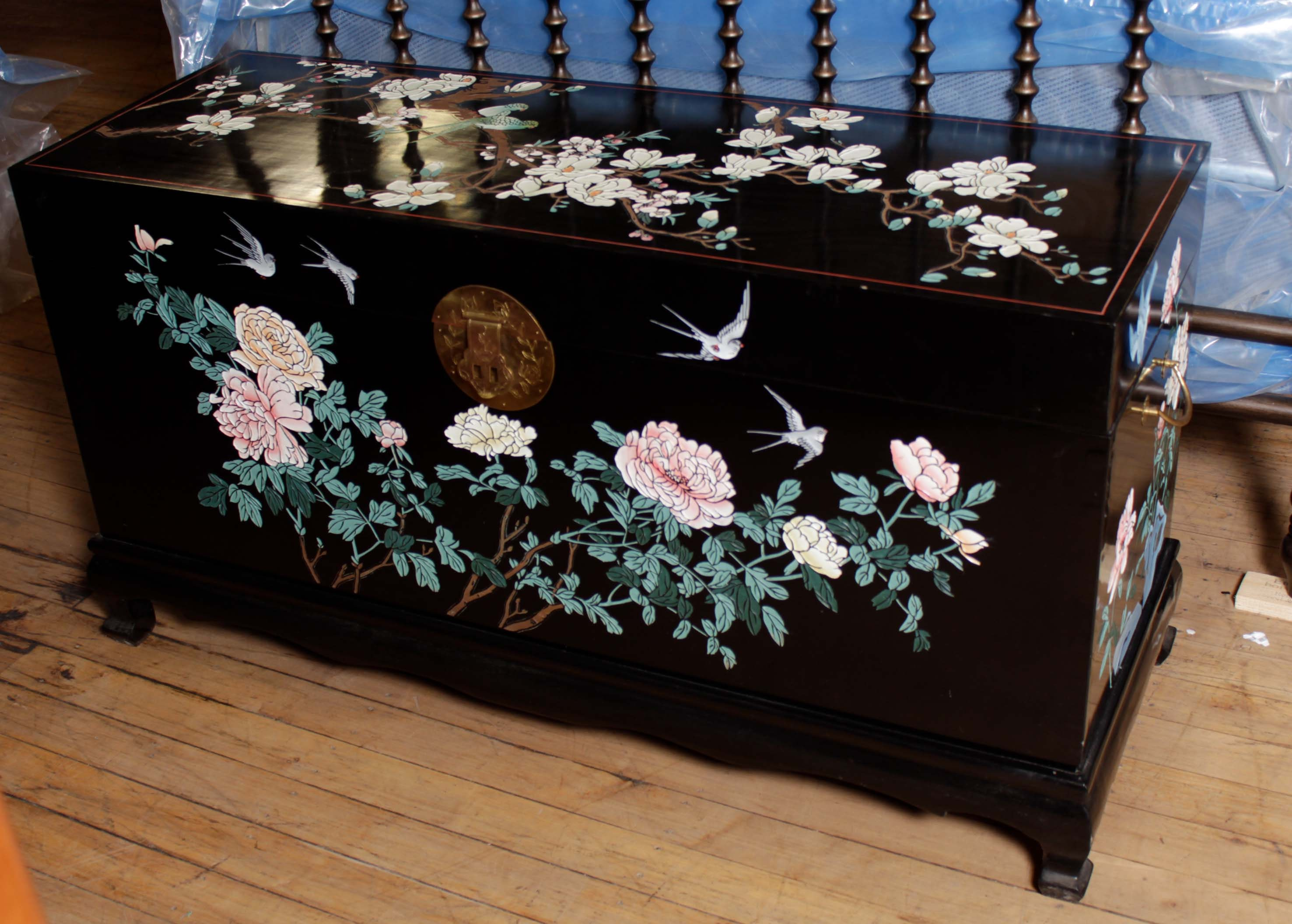 Black Lacquered Chinoiserie Chest on Stand