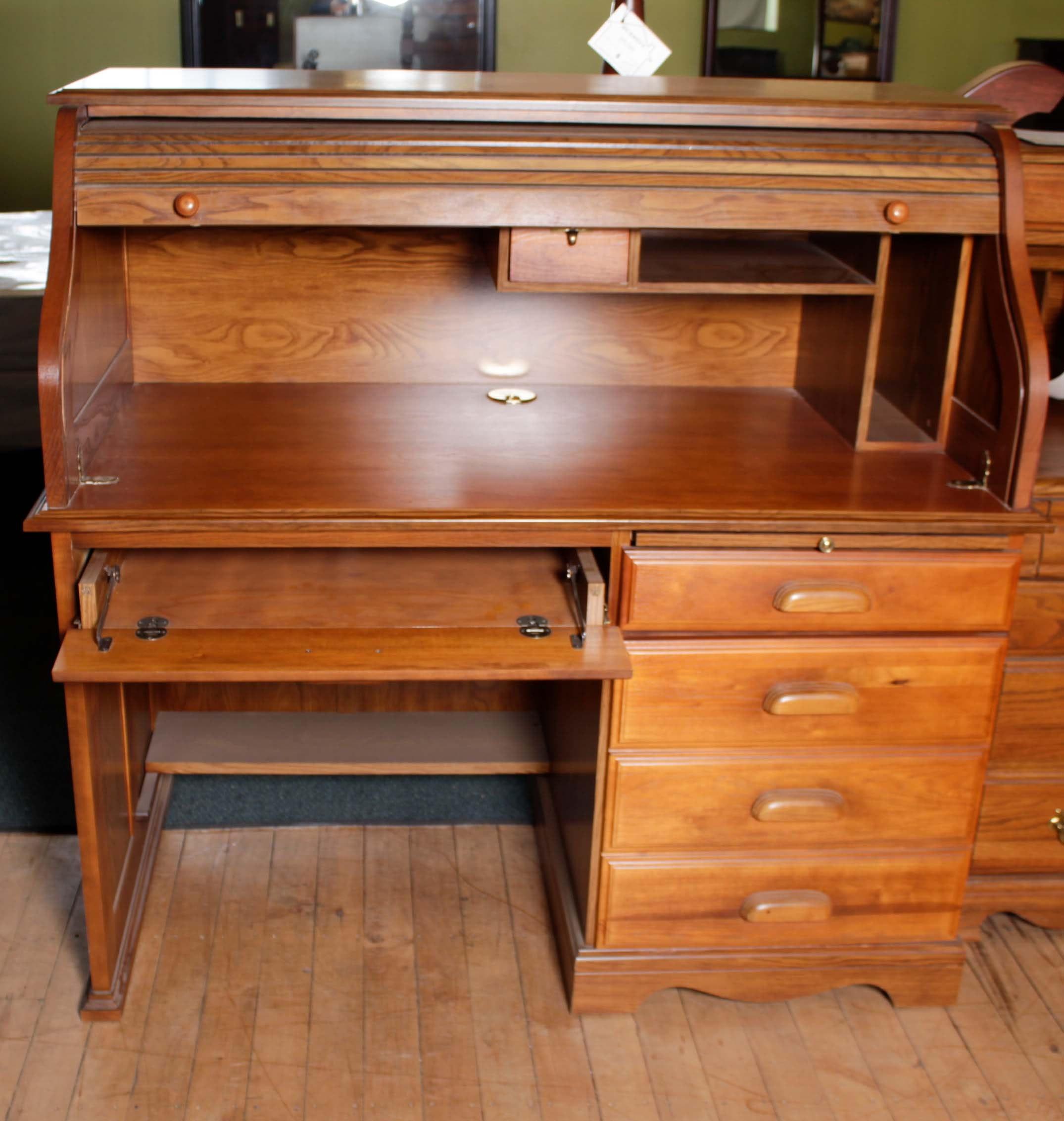 DMI Furniture Oak Roll Top Computer Desk