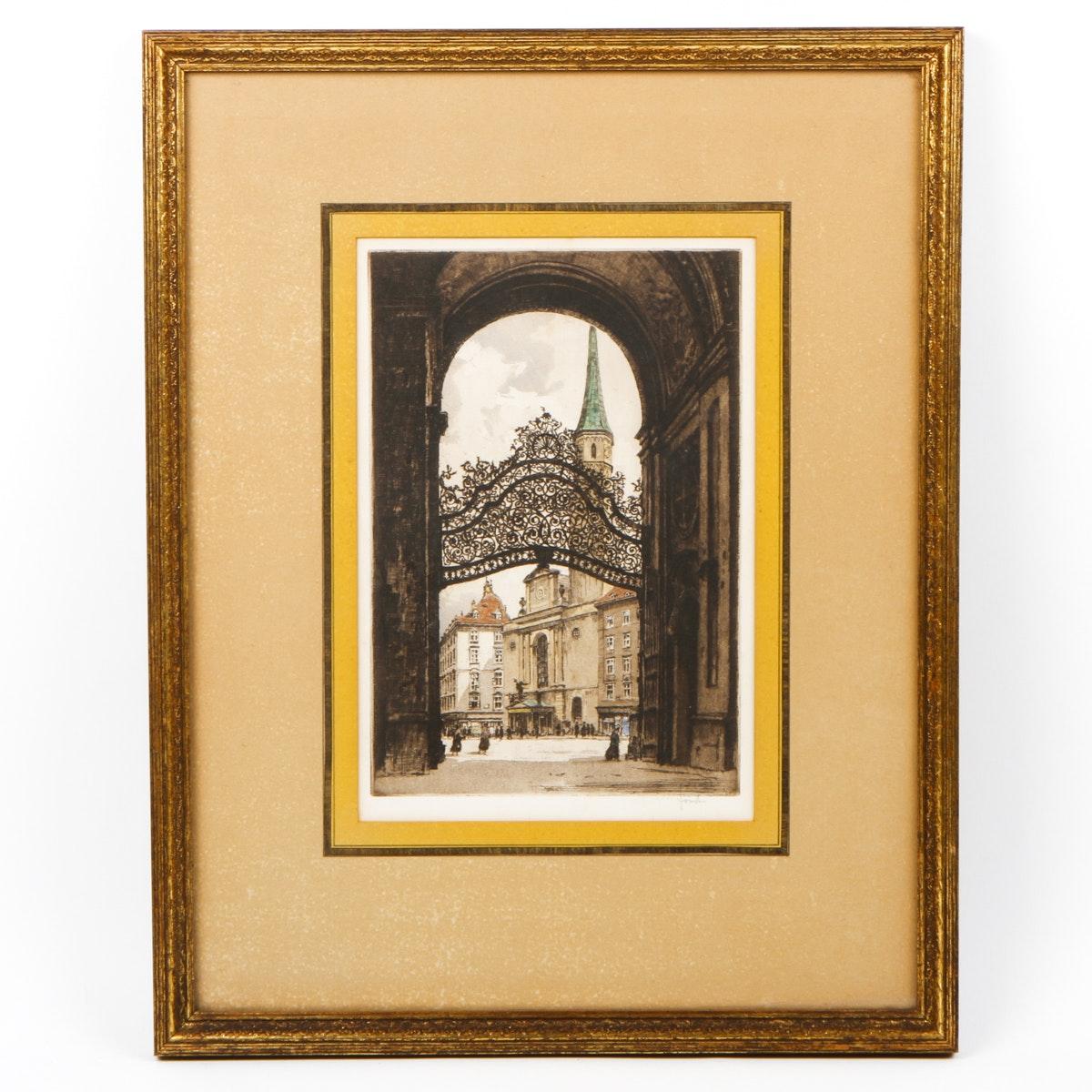 After Robert Kaismir Aquatint Etching of Vienna Palace Gate