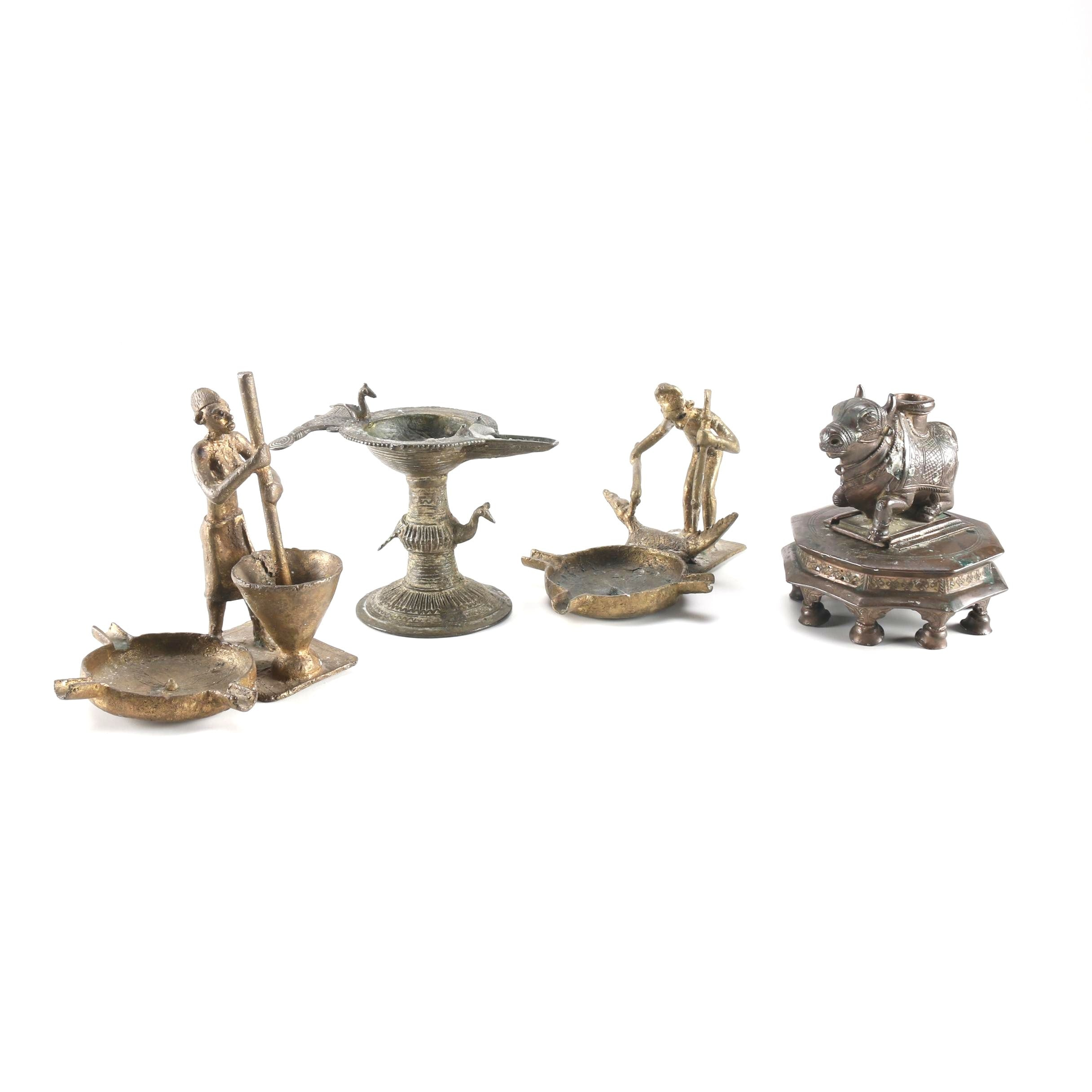 Bronze Decor Items Including Ashtrays and Candleholders
