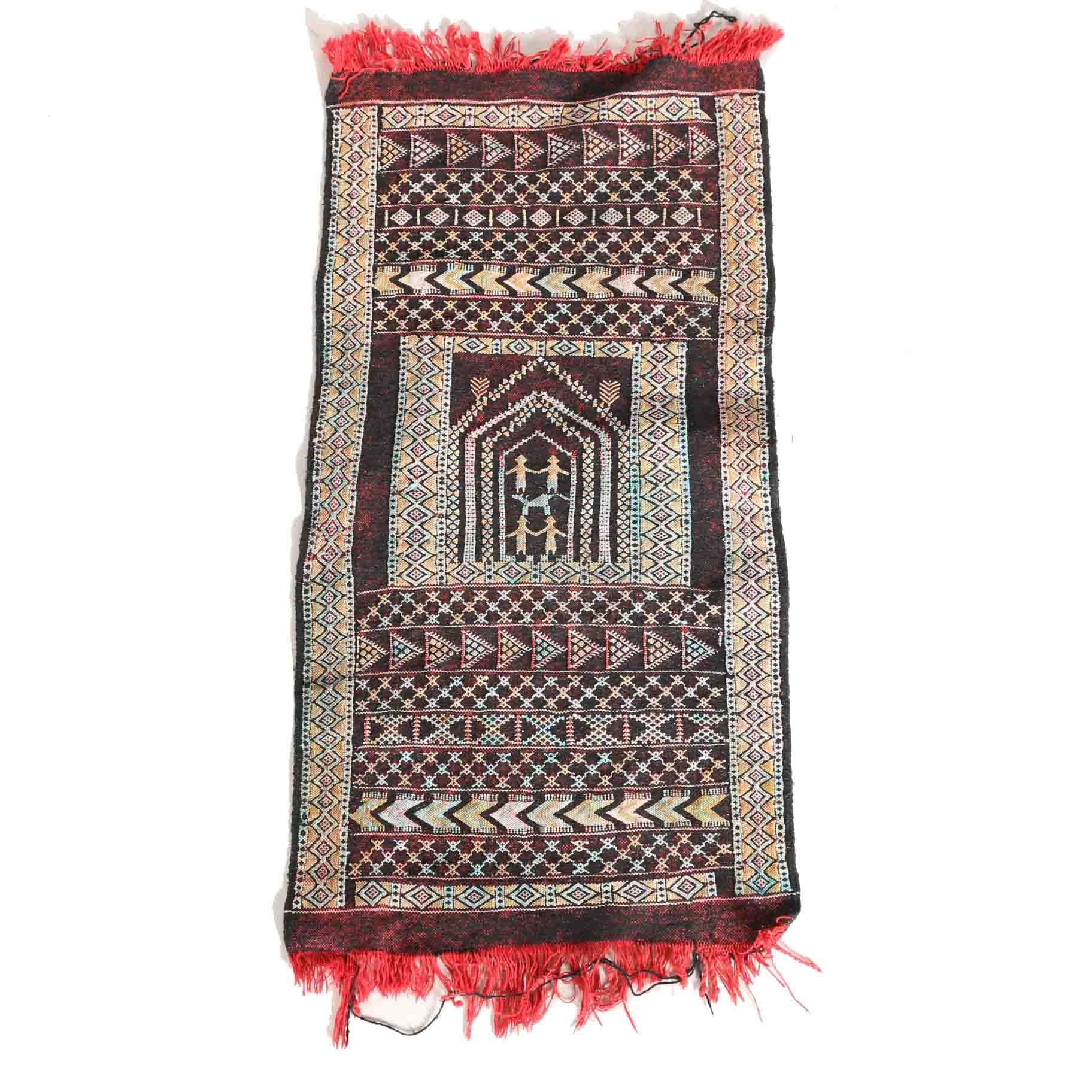 Handwoven and Embroidered Flat Weave Tribal Accent Rug