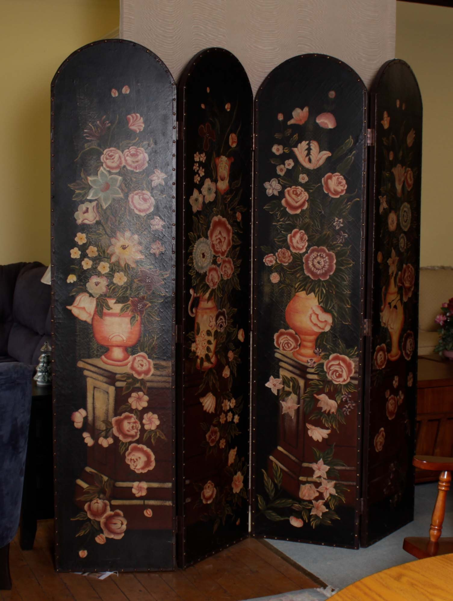 Hand-Painted Floral Folding Screen