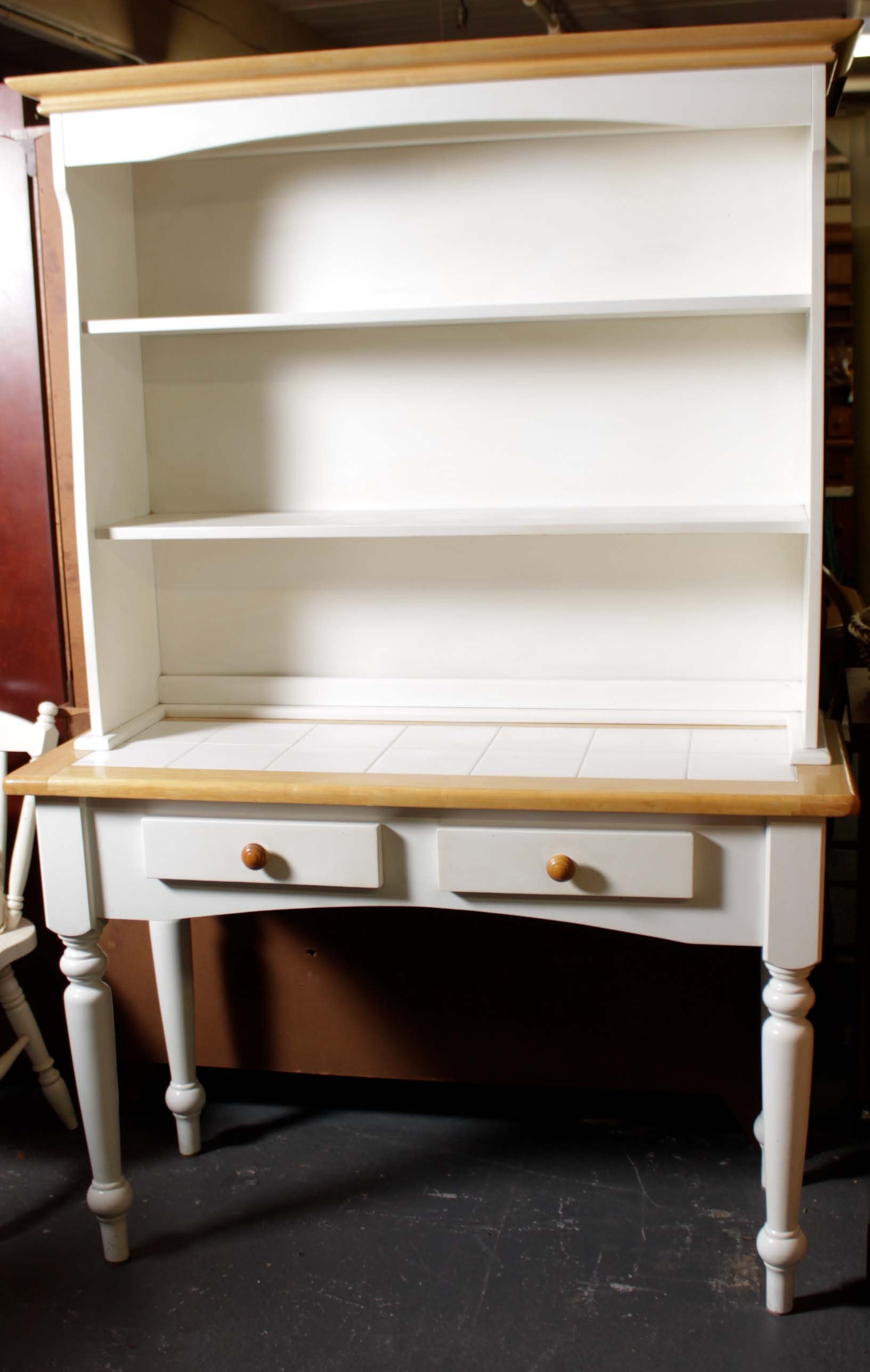 Partial Painted Country Turned Leg Cupboard With Tile Top