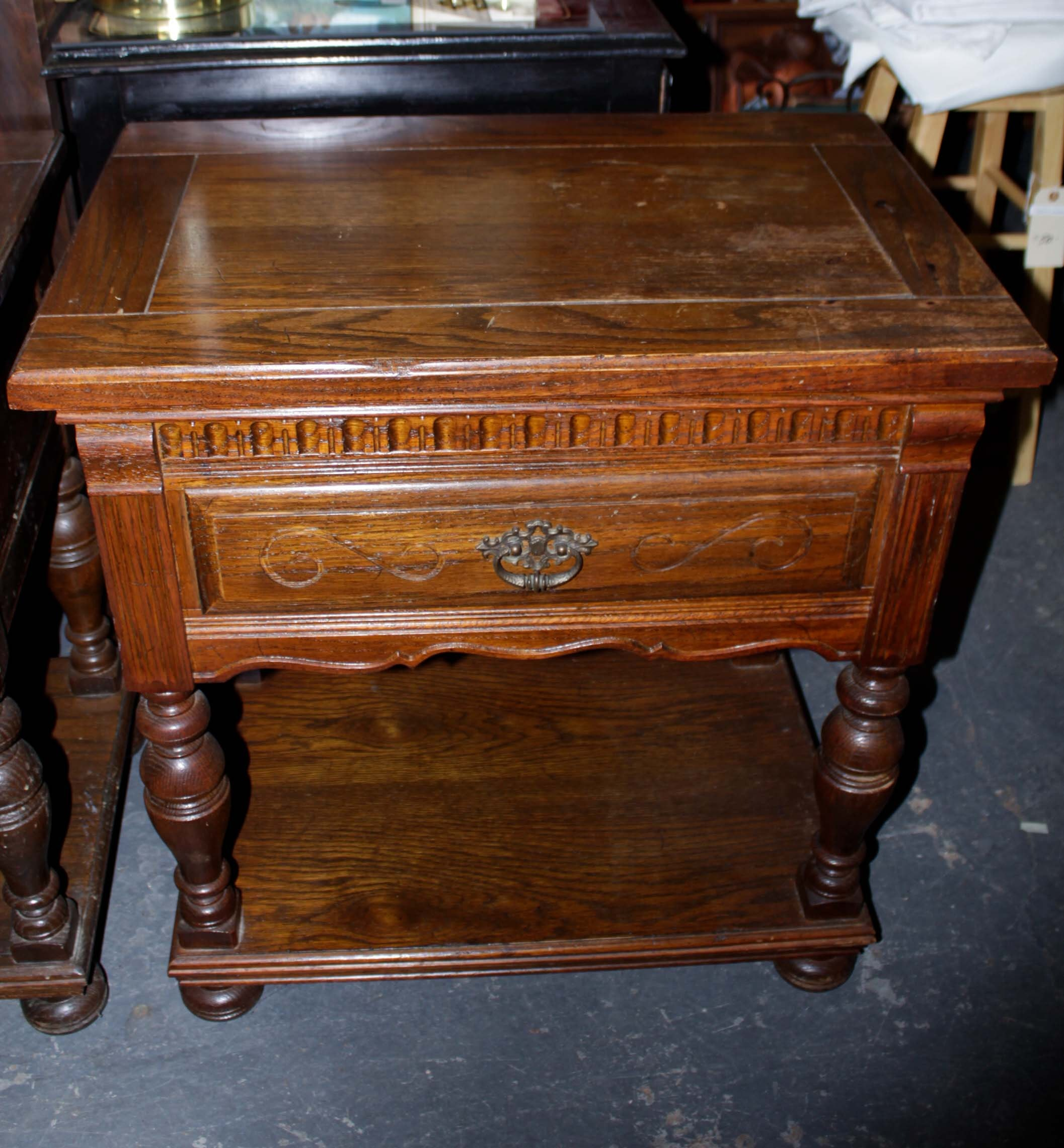 Ethan Allen Jacobean-Style Oak Nightstands