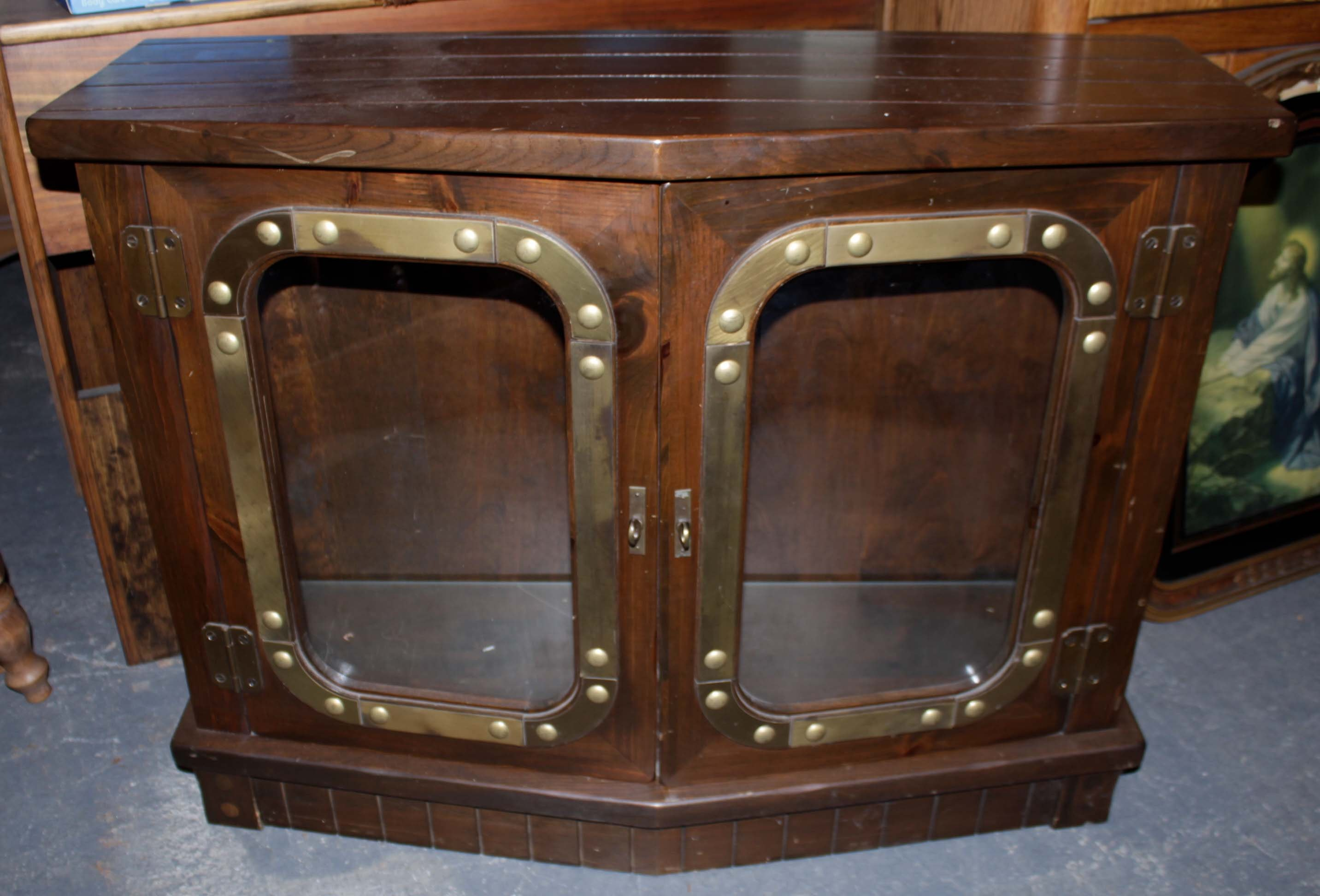 Lighted Pine Display Cabinet