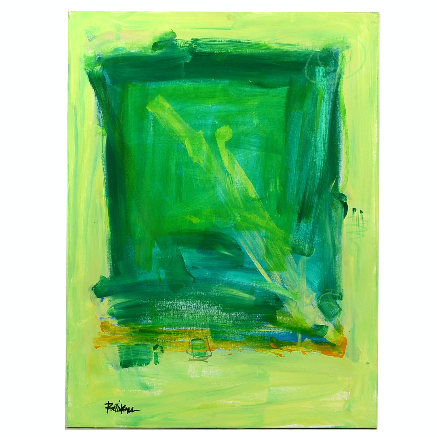 "Robbie Kemper Original Mixed Media Painting on Canvas ""Lime Green and Yellows"""