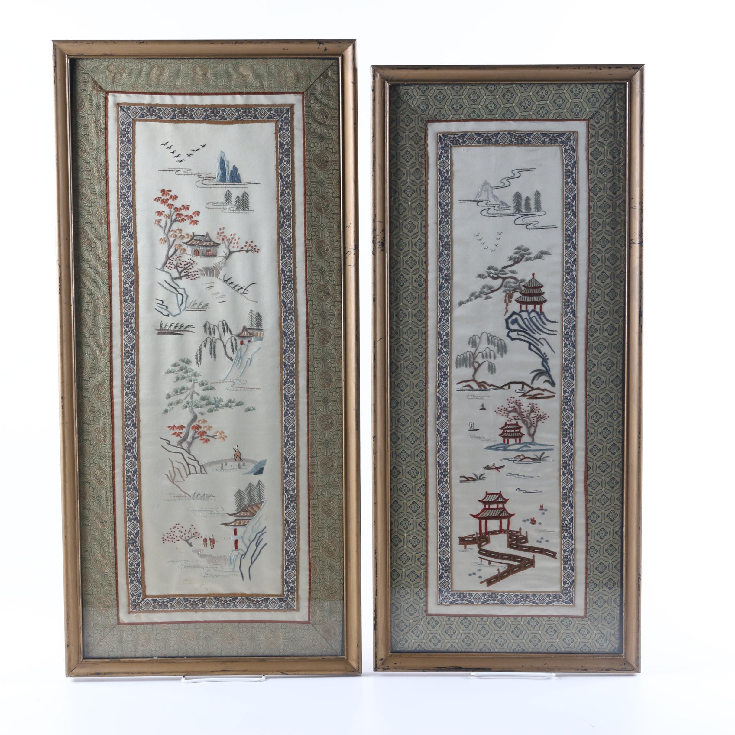Vintage Asian Inspired Embroidered Silk Textile Art