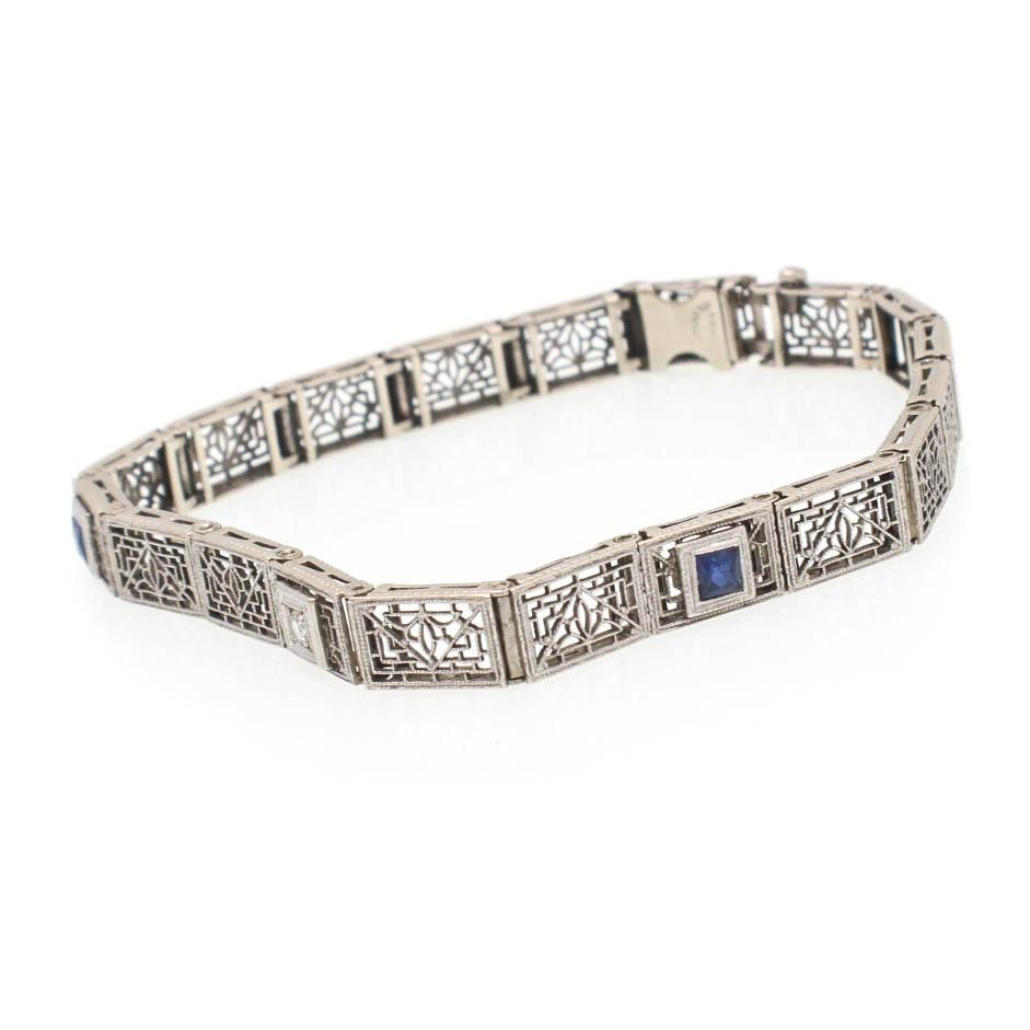 Art Deco Platinum and 14K White Gold Diamond Filigree Bracelet