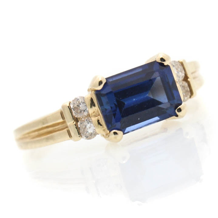 14K Yellow Gold Diamond and Synthetic Sapphire Ring