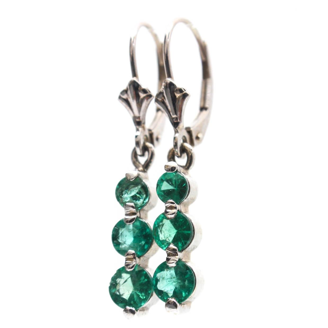 14K Yellow Gold Emerald Dangle Earrings