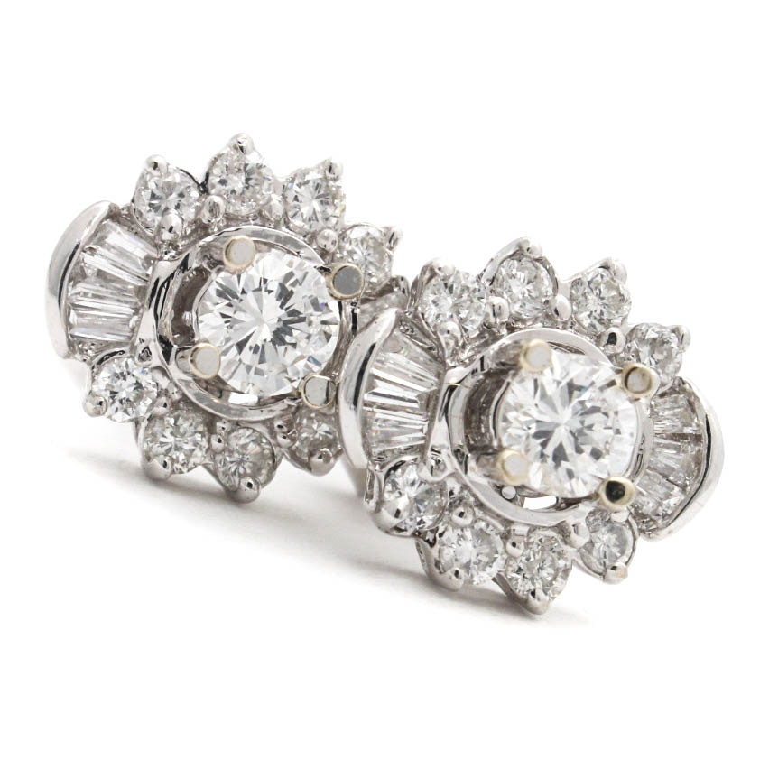 18K White Gold 1.02 CTW Diamond Earrings