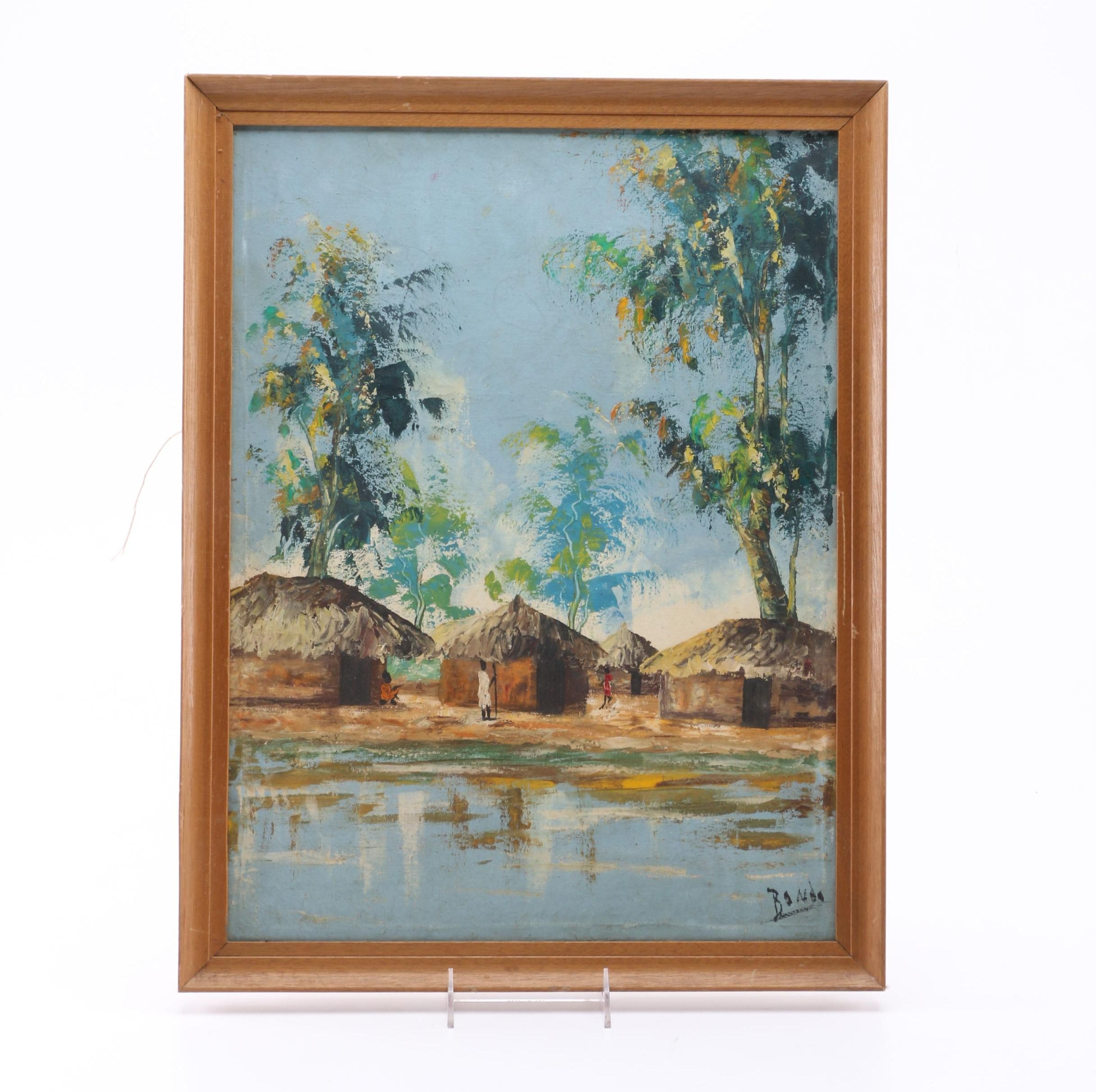 Bondo Oil Painting on Canvas of African Figural Landscape
