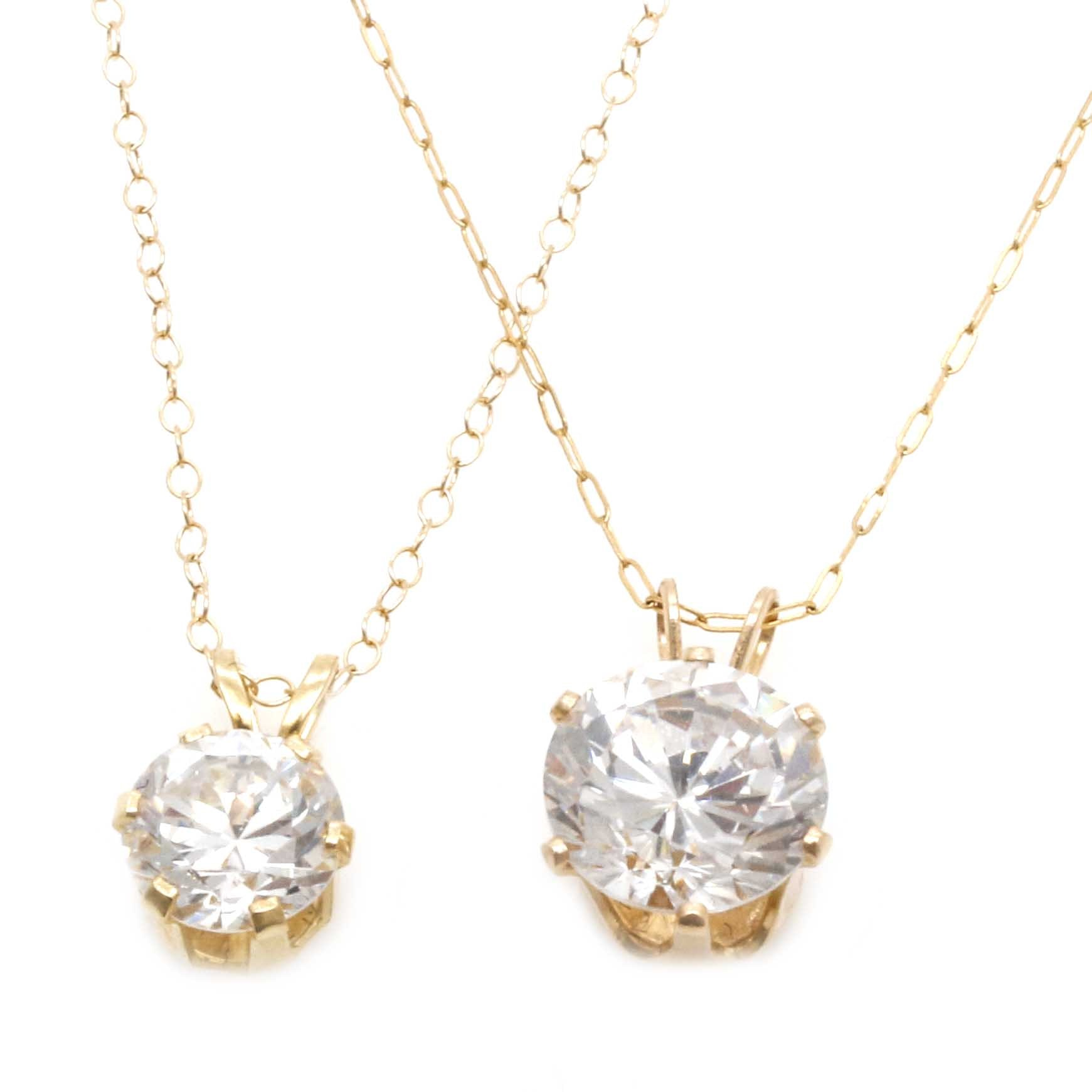 14K Yellow Gold Cubic Zirconia Necklaces