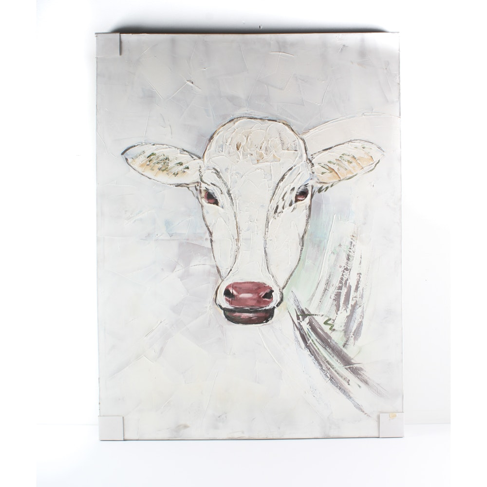 Mixed Media Painting of Cow on Canvas