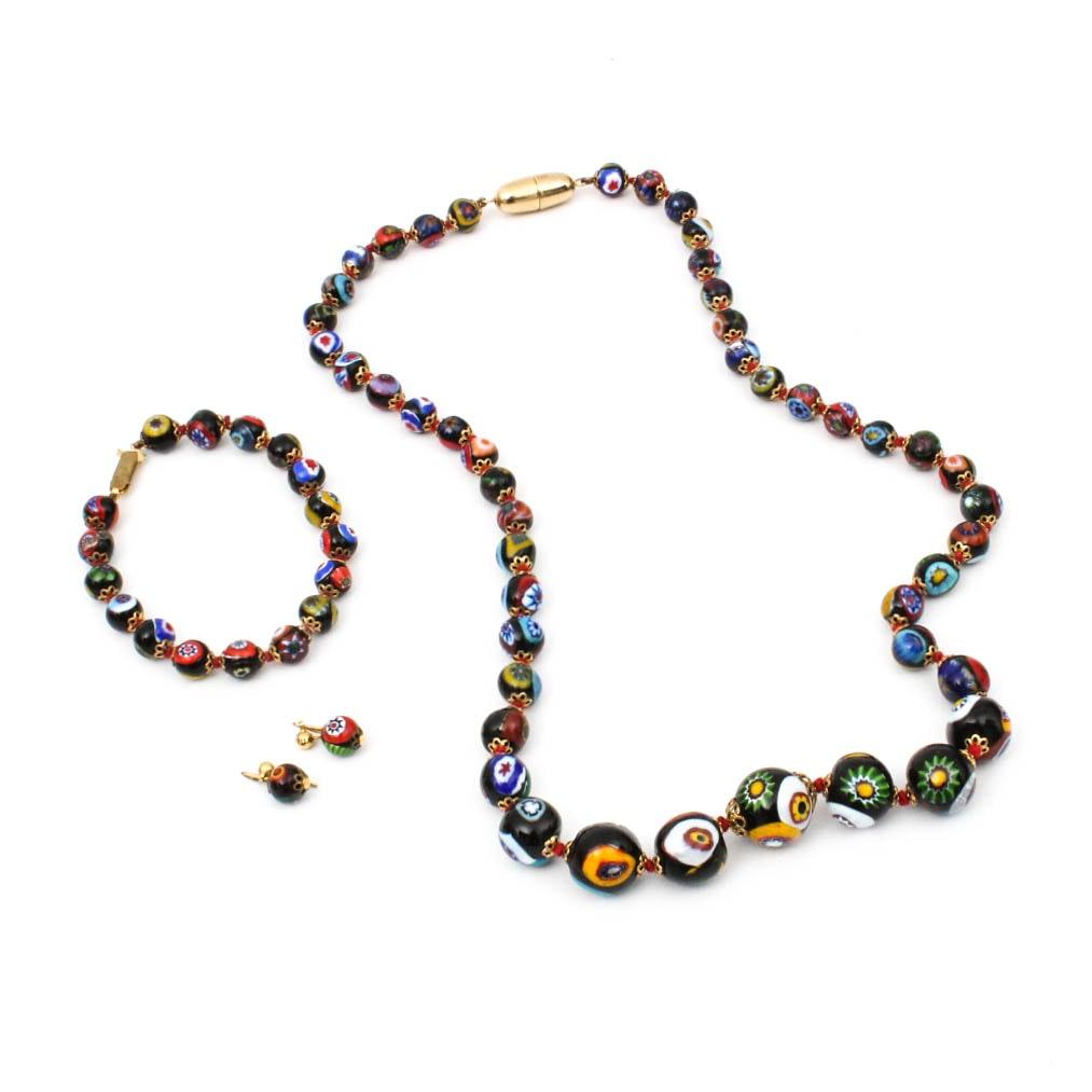 Vintage Venetian Murano Millefiori Graduated Bead Jewelry Collection
