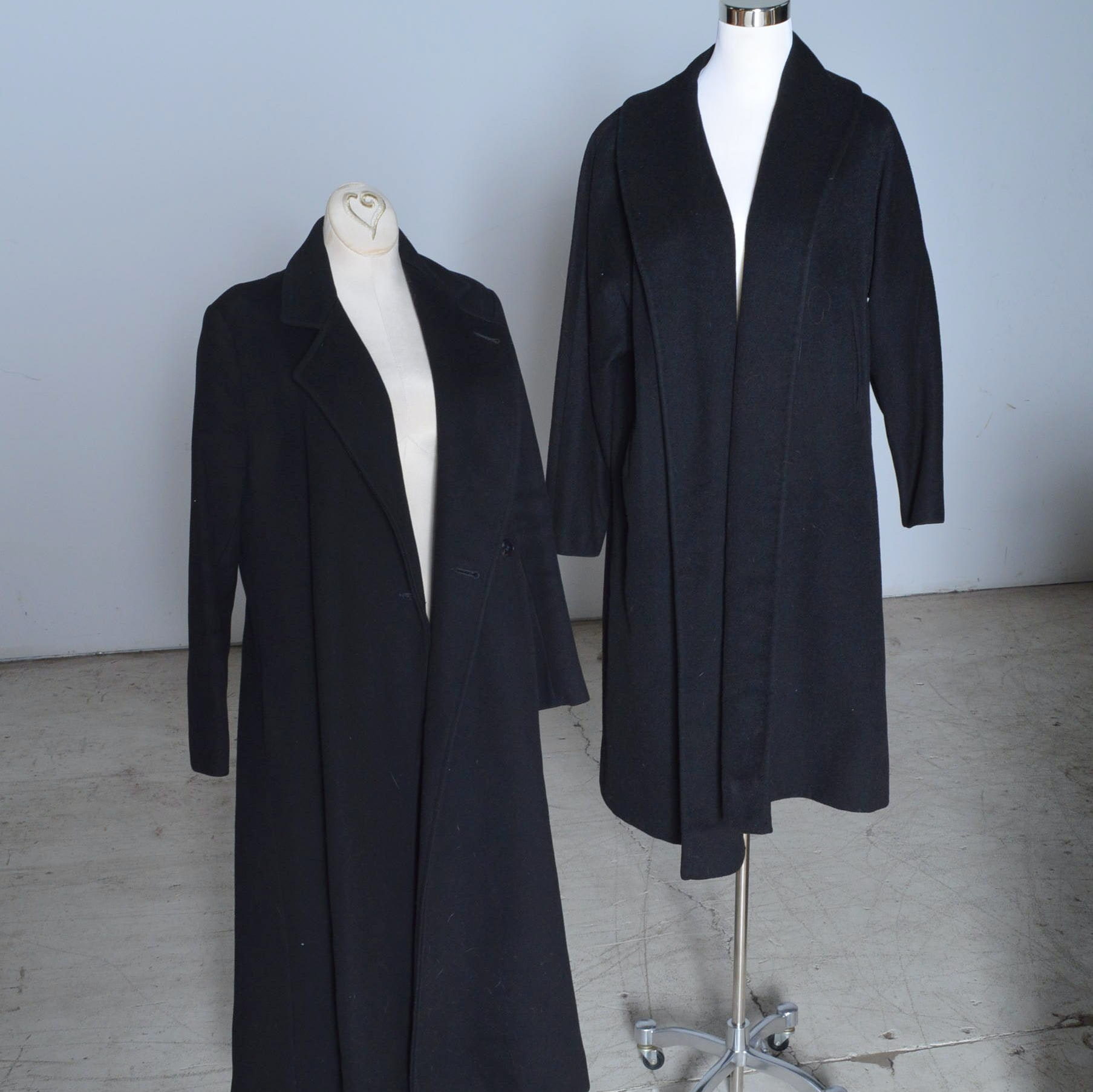 Women's Vintage Black Wool Coats