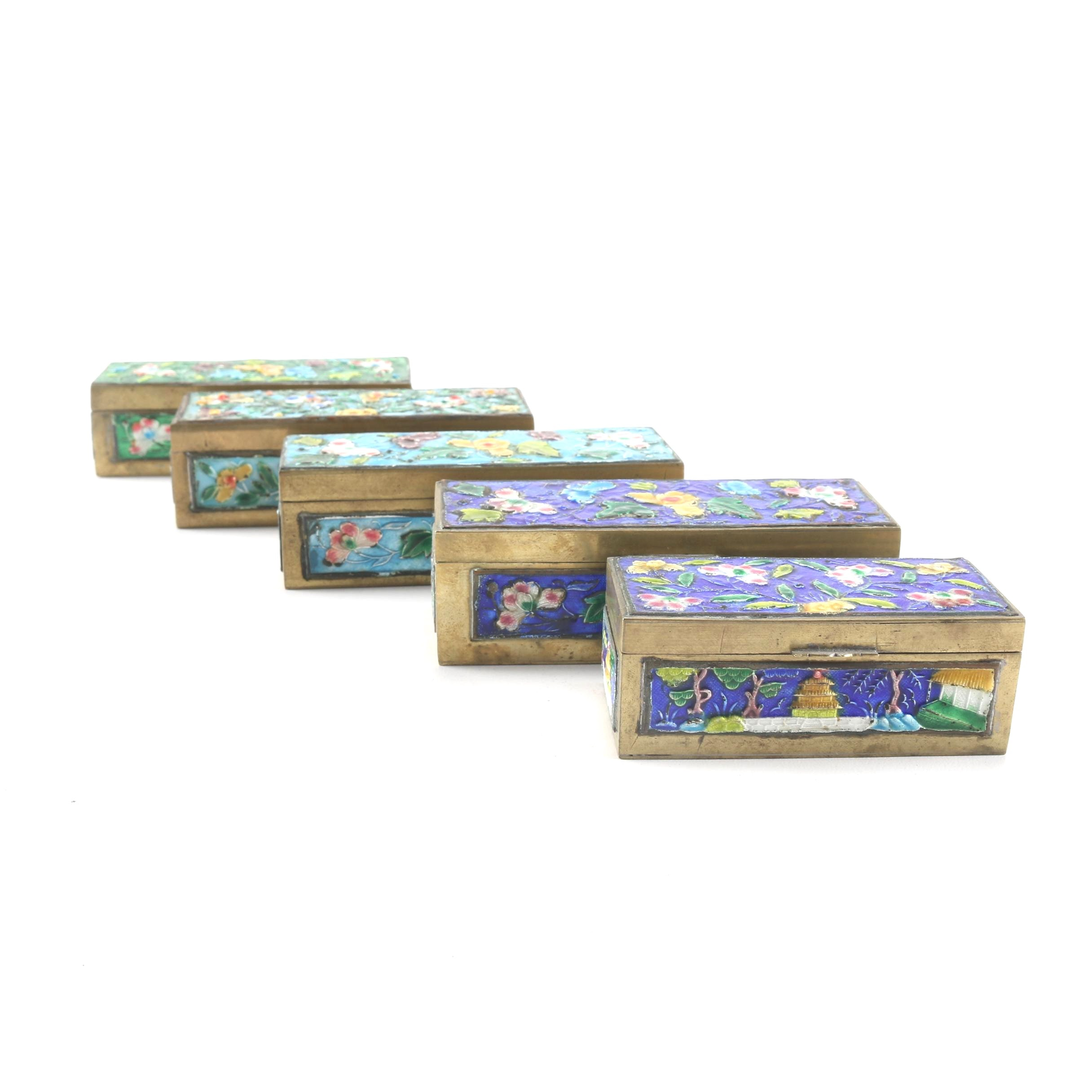 Vintage Chinese Floral Pattern Enamel Stamp Boxes