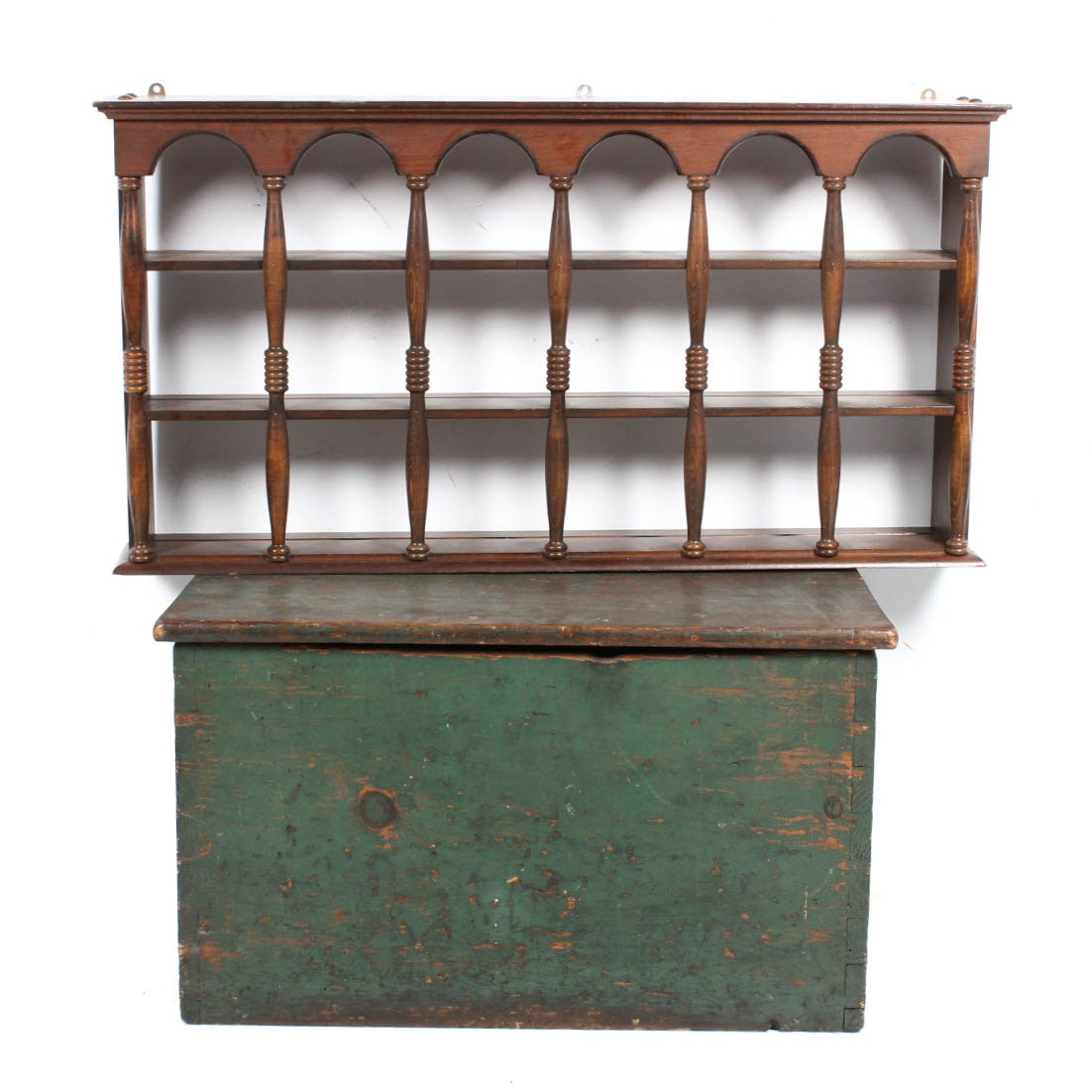 Primitive Painted Pine Chest and Cornwall Display Shelf