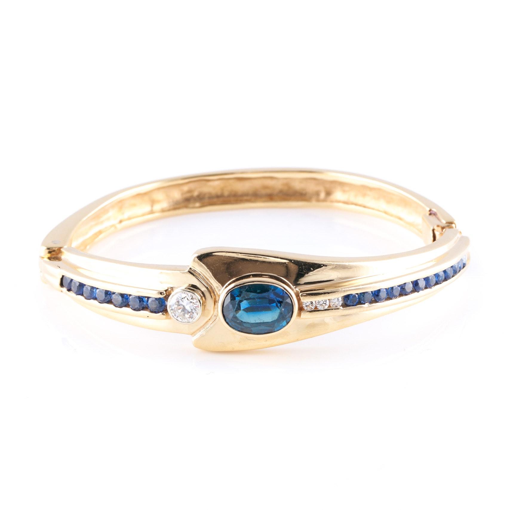14K Gold Hinge Bracelet With Blue Sapphire and Diamonds