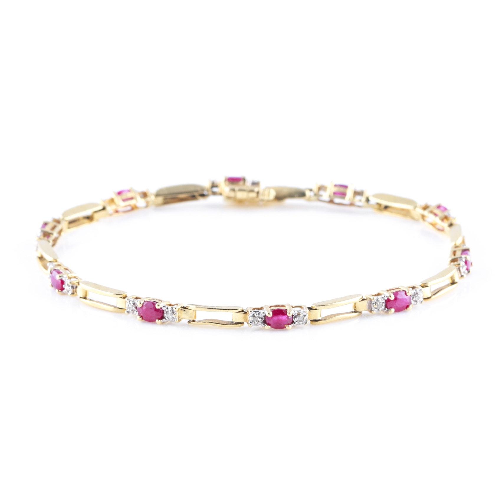 14K Yellow Gold 2.00 CTW Ruby and Diamond Bracelet