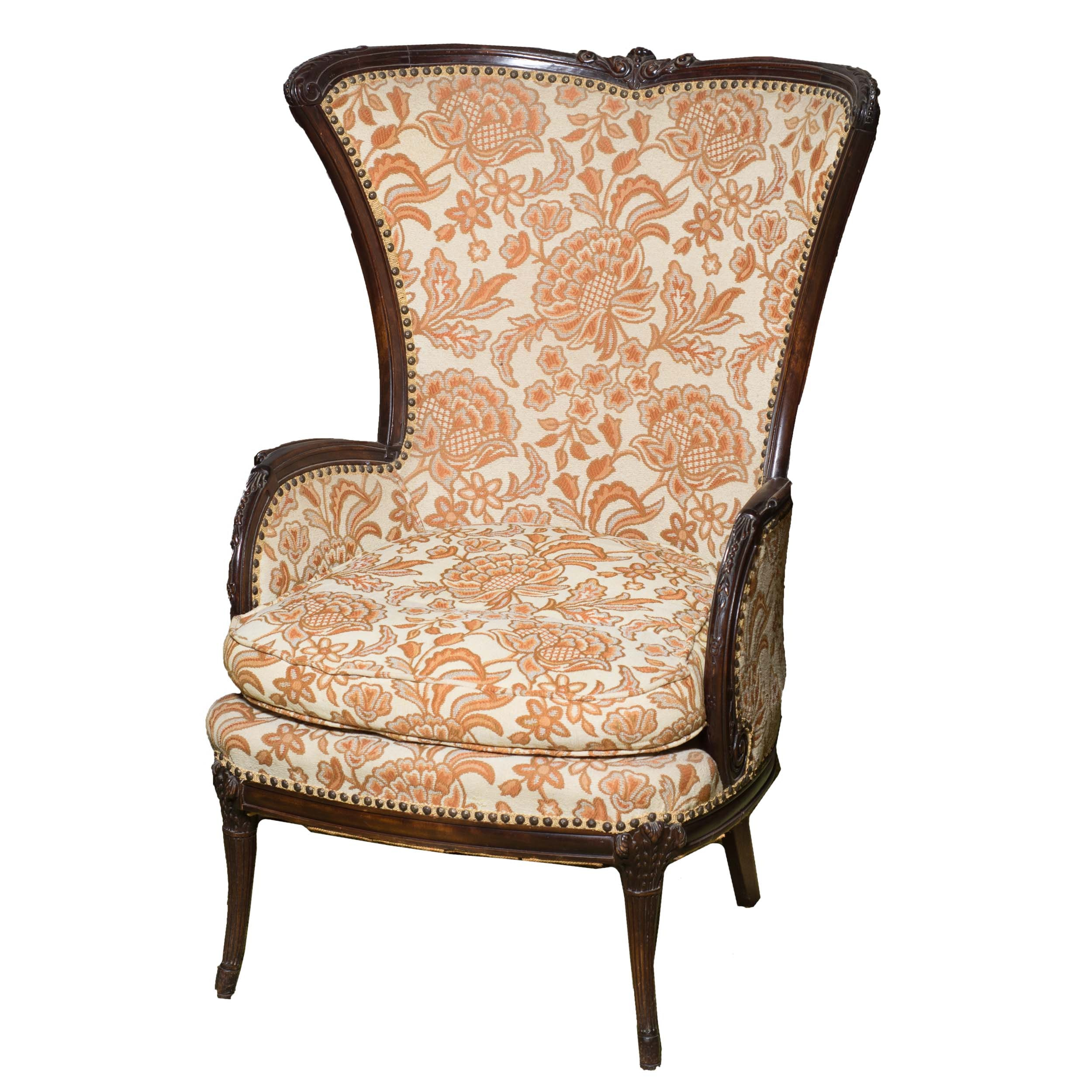 Vintage Wing Back Chair With Prince of Wales Feathers Detail