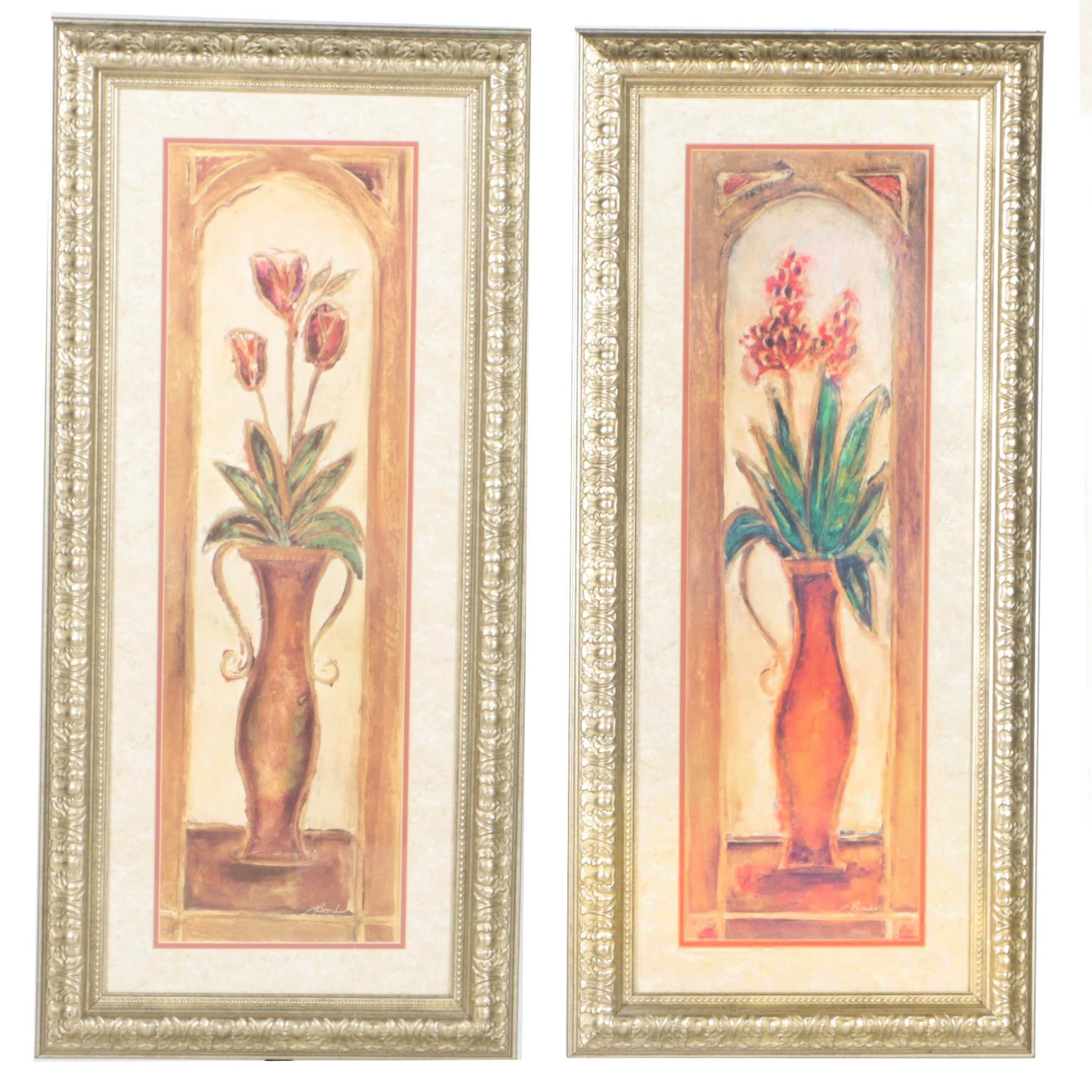 Framed Offset Lithographs of Flowers in Vases