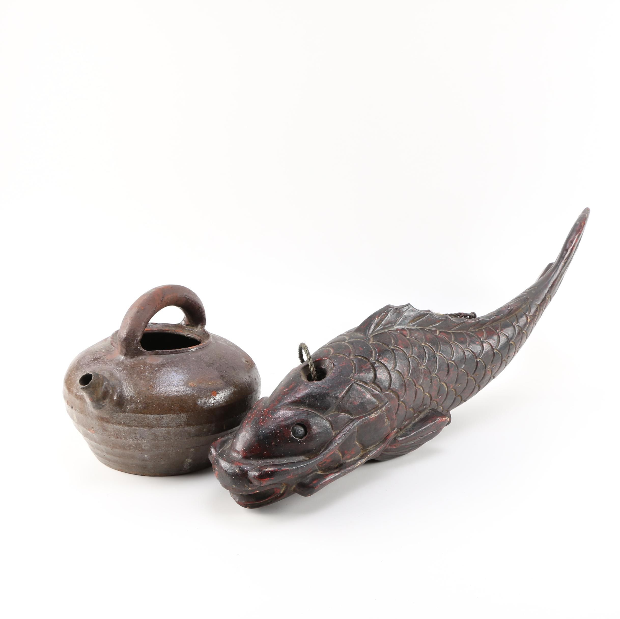 Carved Chinese Inspired Carp and Glazed Clay Teapot