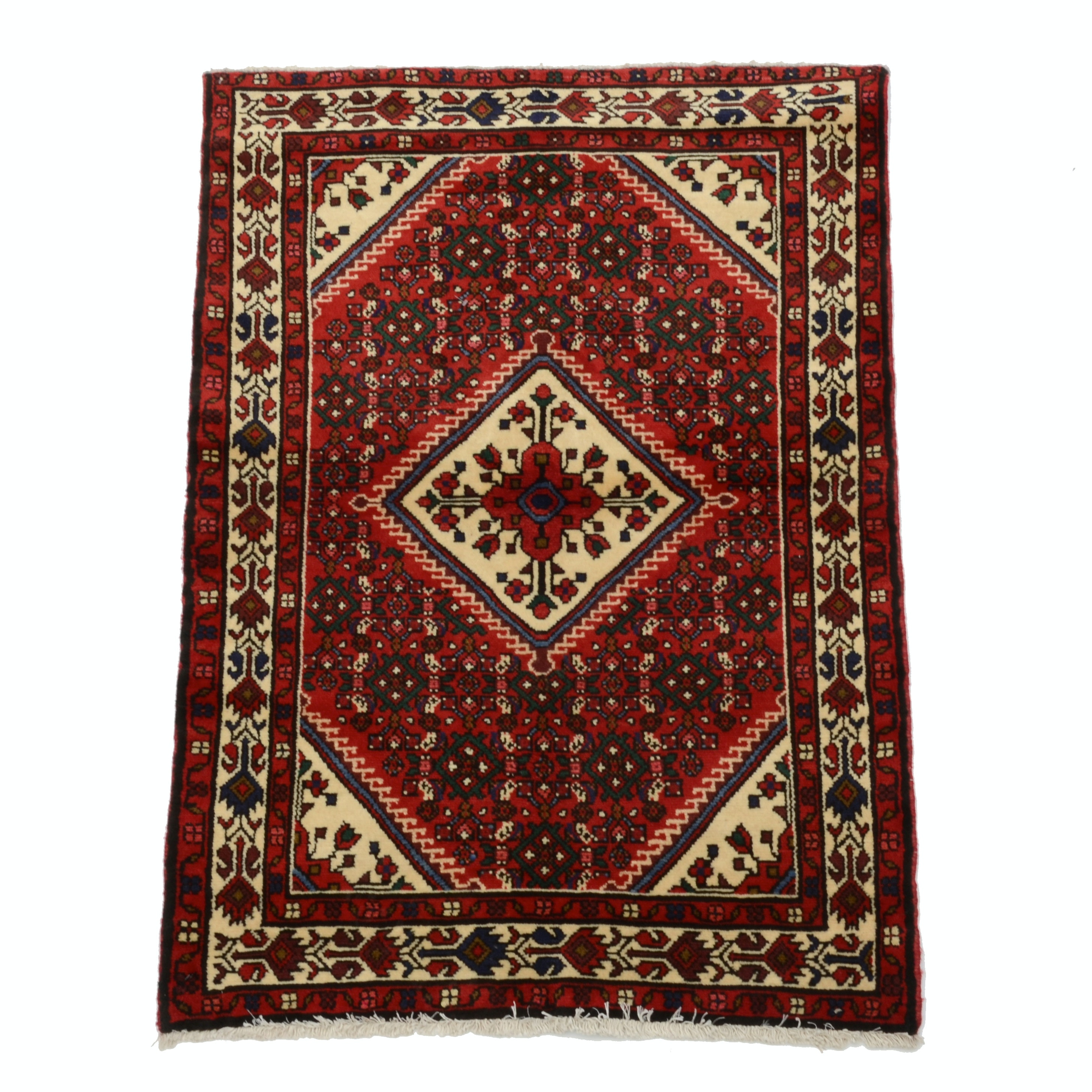 Hand Knotted Persian Hosseinabad Wool Area Rug